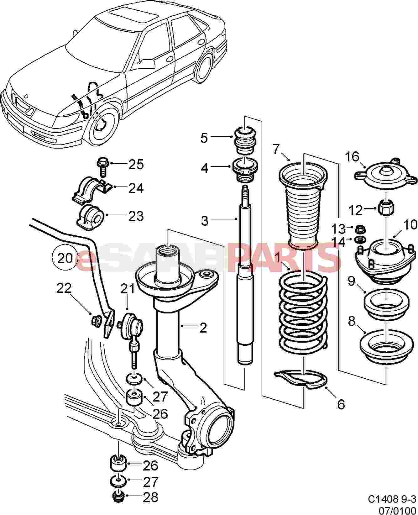 esaabparts com saab 9 3 9400 u003e suspension wheels parts u003e front rh esaabparts com saab 9 7x air suspension diagram saab 9-3 rear suspension diagram