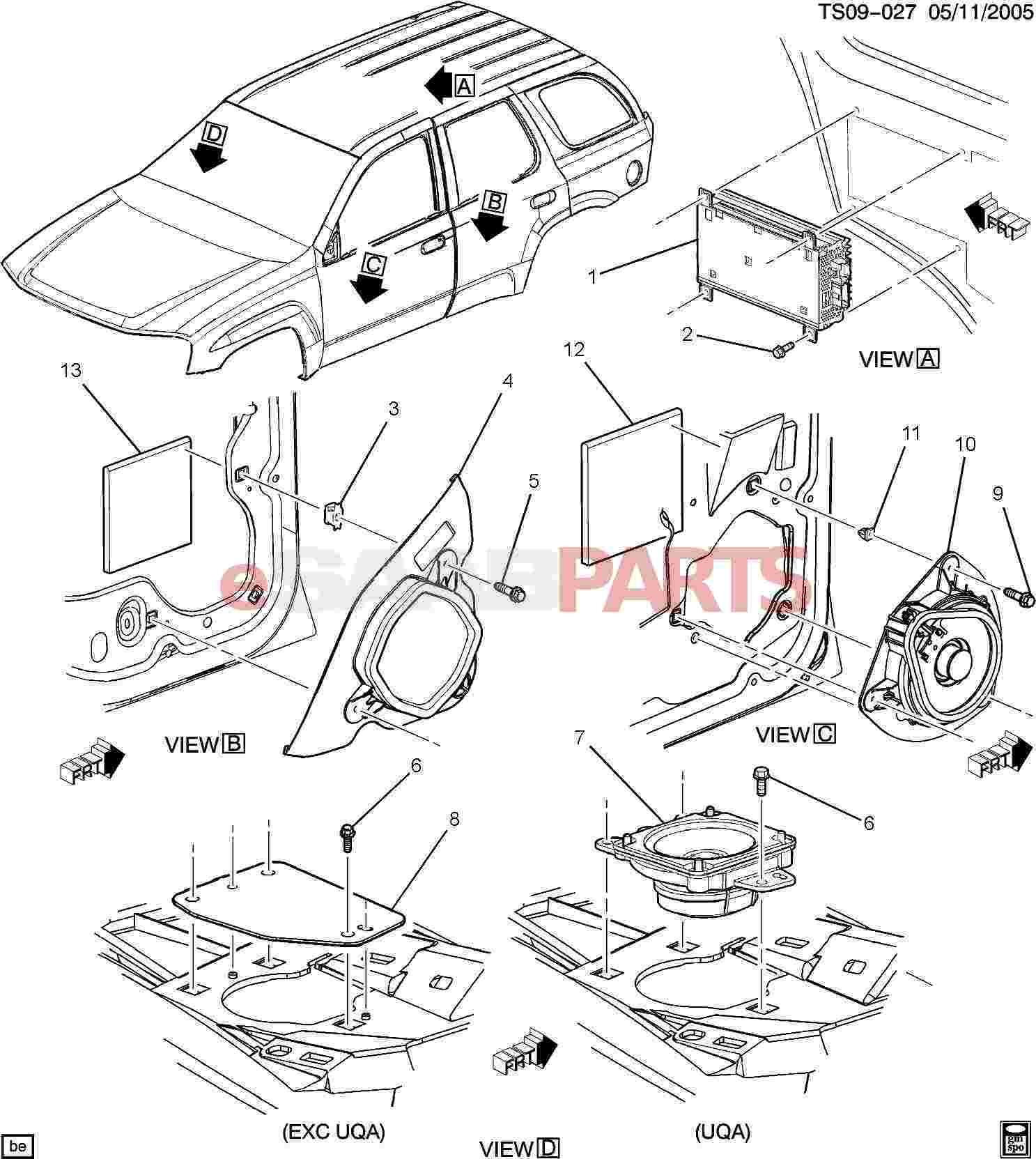 15013121 saab speaker rdo front genuine saab parts from 2007 Saab 9 7X Problems diagram image 7