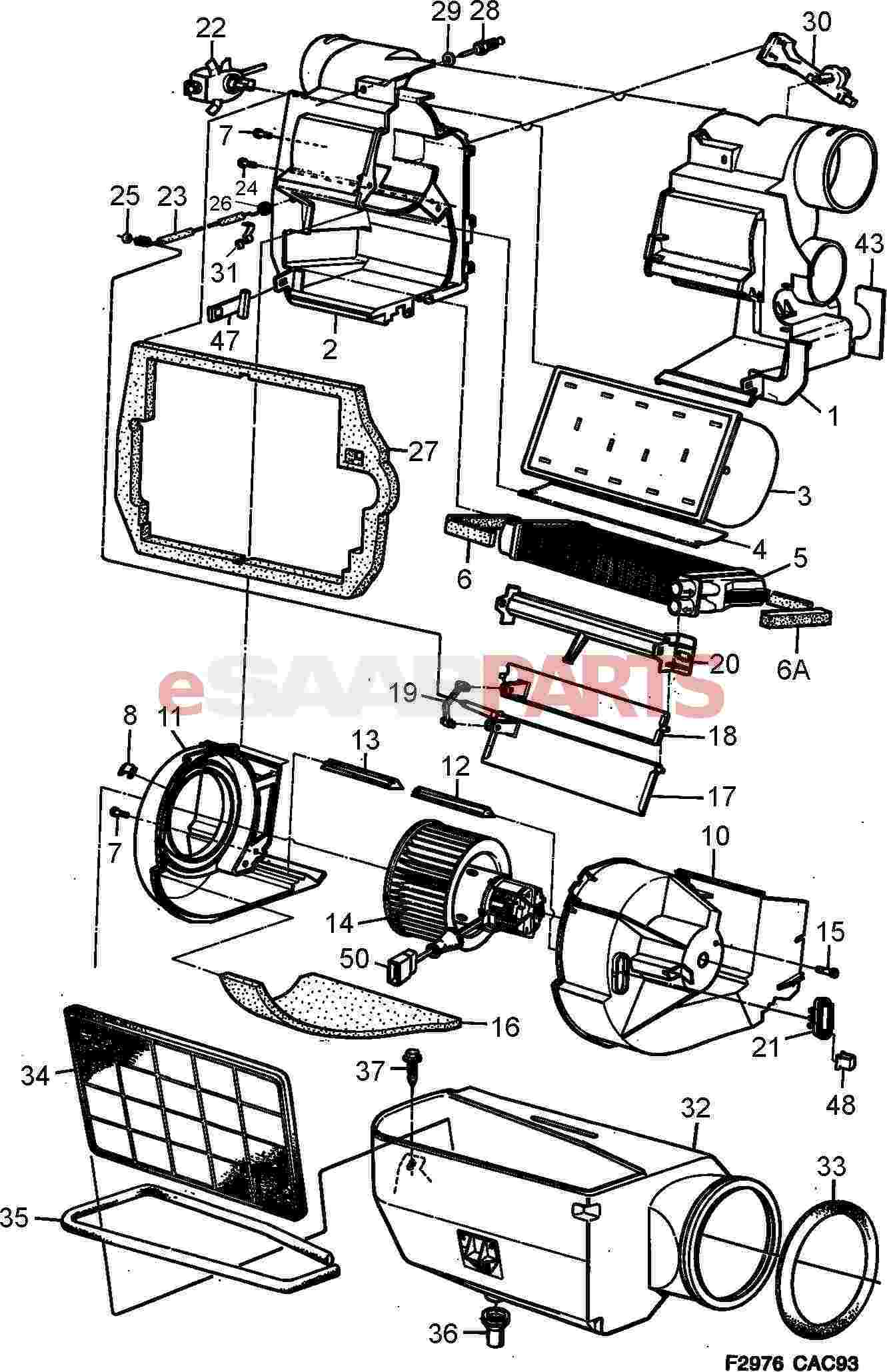Saab 9000 Heating Air Conditioning Parts Wiring Diagram Ventilation Heat Exchanger Fan Unit Not Acc