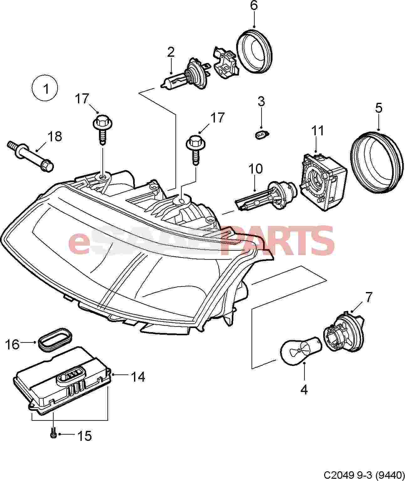 saab 9 3 car headlights diagram  saab  auto parts catalog