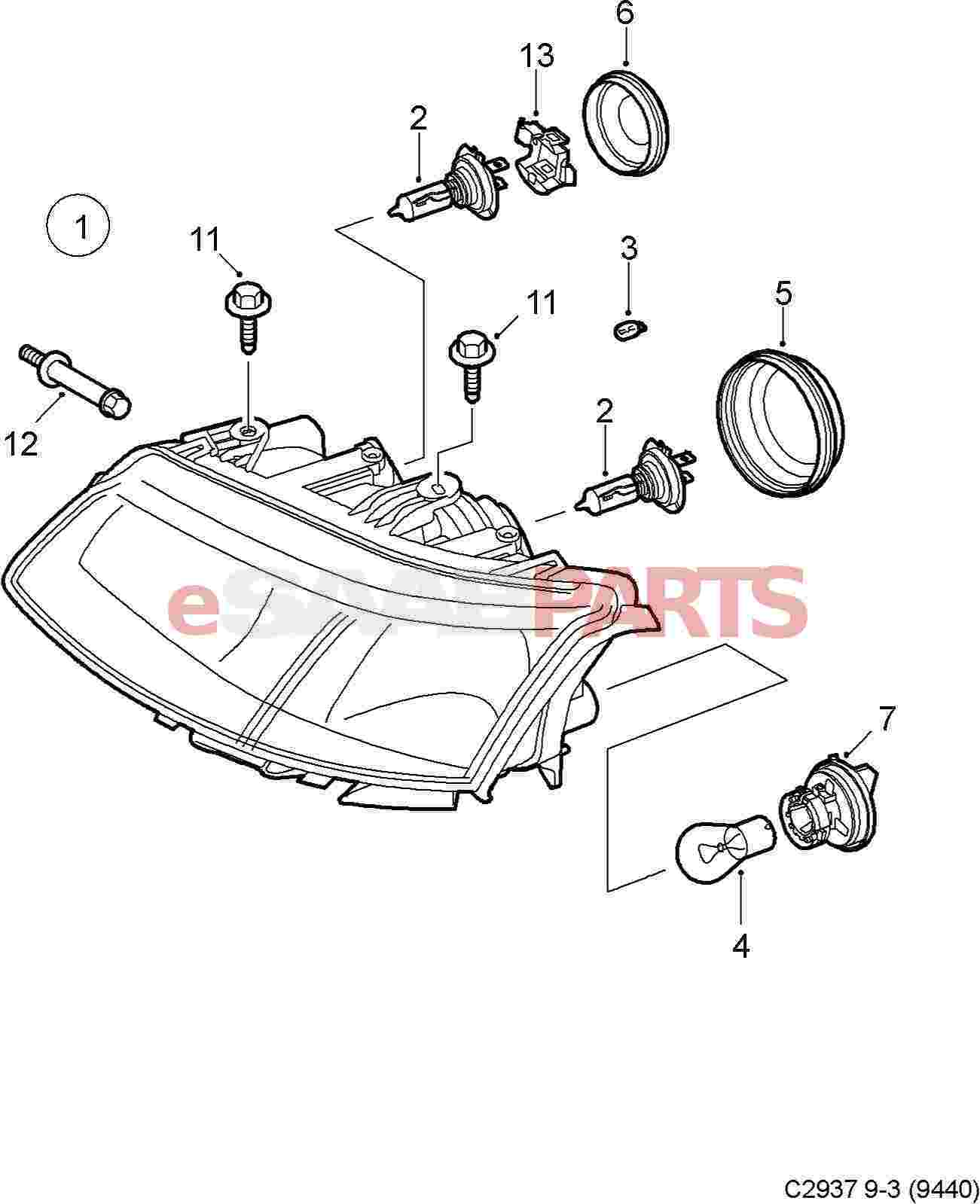 esaabparts com saab 9 3 9440 u003e electrical parts u003e headlights rh esaabparts com Saab Headlight Replacement Saab Headlights Not Working