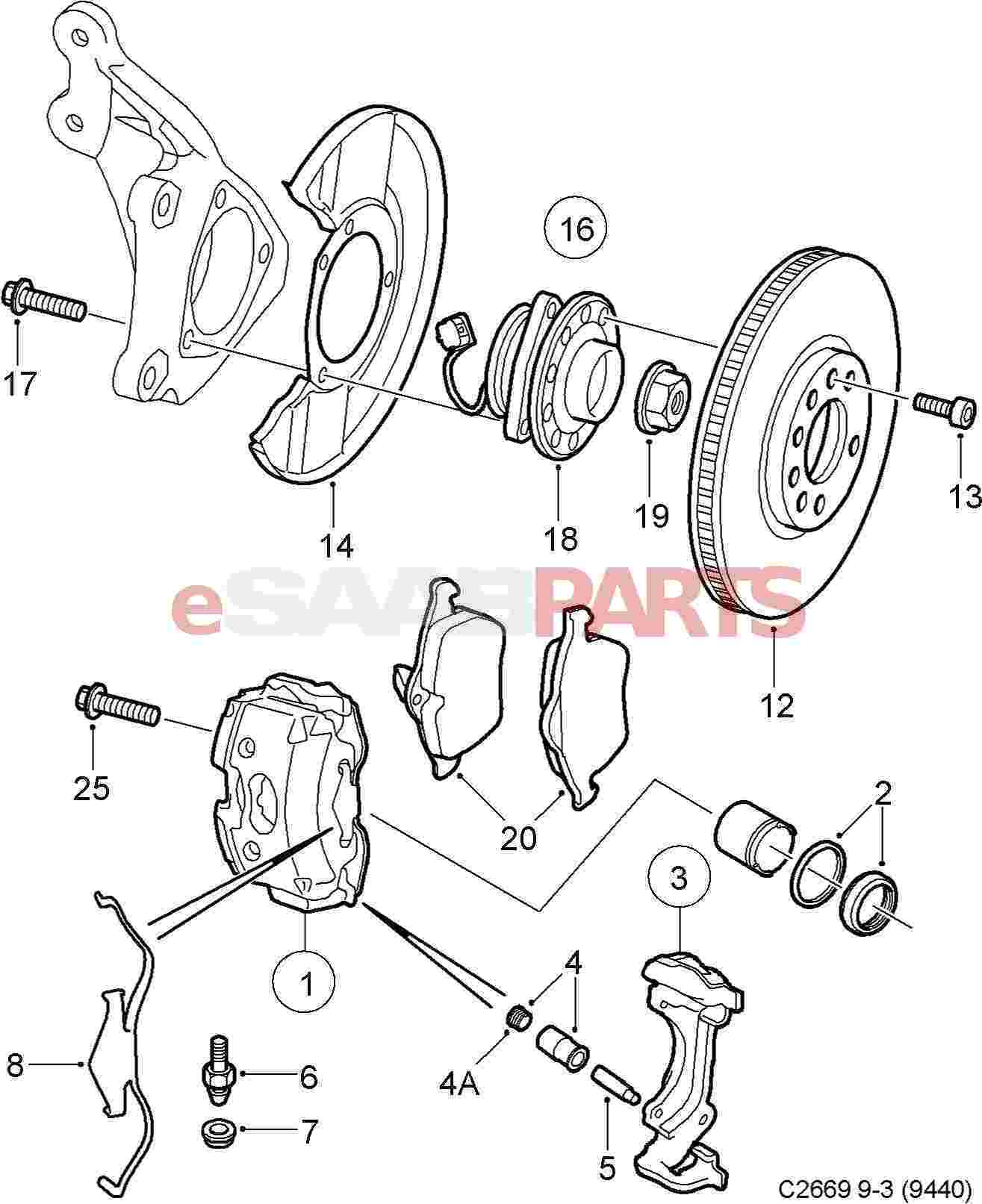 93176375  SAAB Brake Caliper  Front Left  314MM  Saab    Parts    from eSaabParts