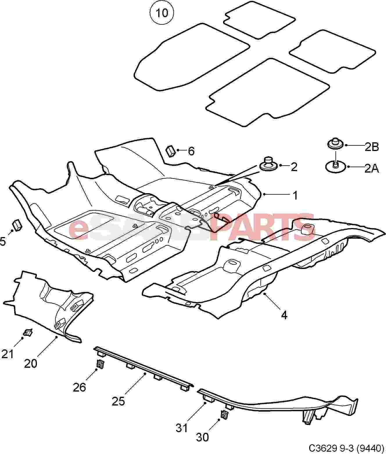 Esaabparts Com Saab 9 3 9440 Car Body Internal Parts Carpets Floor Mats Carpets 4d 5d 06 11