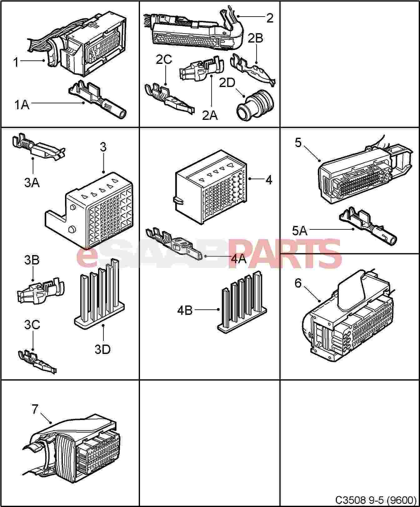 eSaabParts.com - Saab 9-5 (9600) > Electrical: Connector Parts > Connectors:  All Types > Connector housing etc - 50-pin - 110-pin