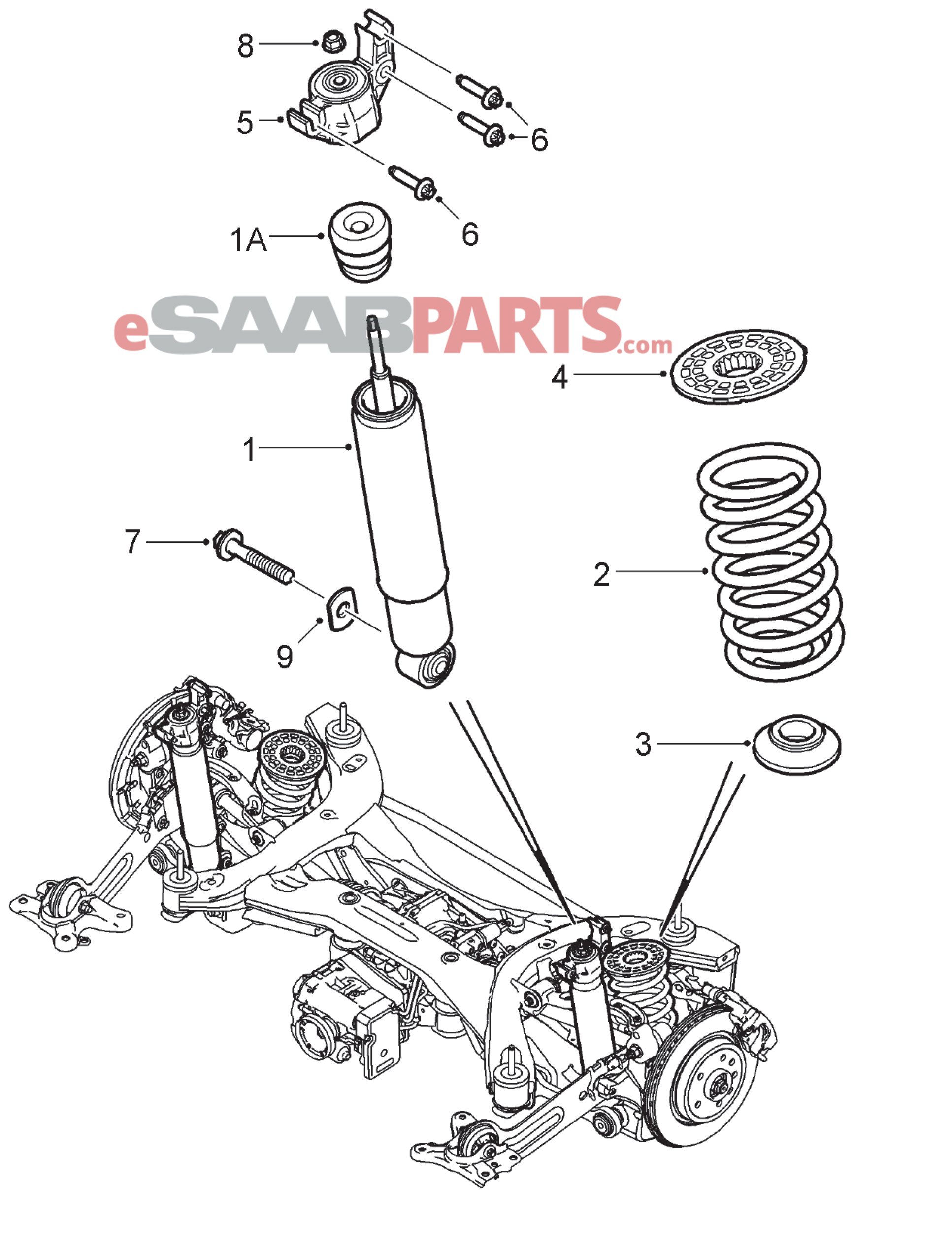 12848627 saab rear shock absorber xwd code x2 or xf genuine rh esaabparts com saab 93 front suspension diagram saab 900 front suspension diagram