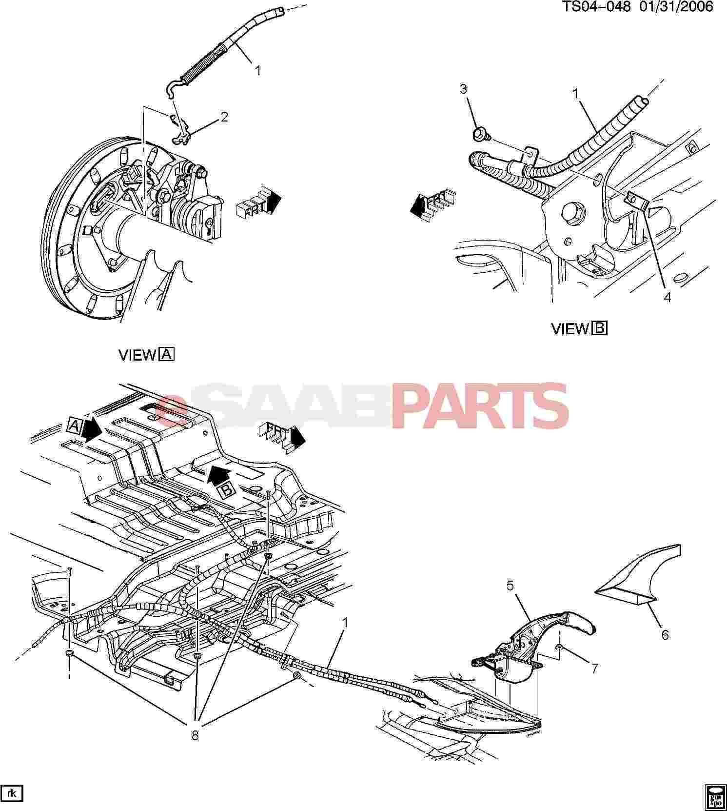 Saab 9 7x Brakes Parts Parking Brake Diagram System
