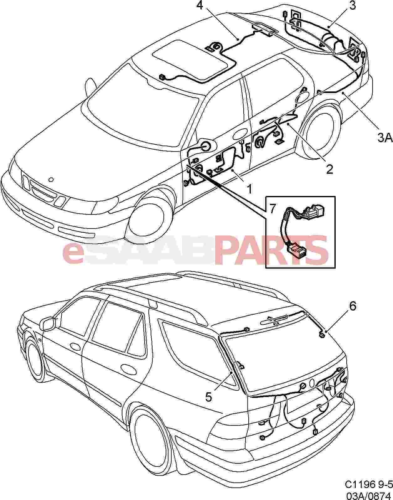 Saab 9 5 9600 Electrical Parts Wiring Harness Diagram Doors Roof And Rear Hatch