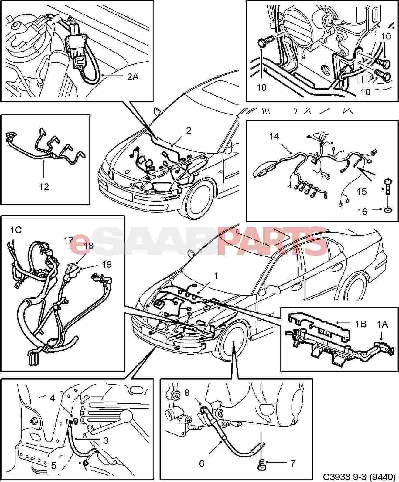 Saab 9 3 Electric Diagram List Of Schematic Circuit 2003 Wiring Esaabparts Com 9440 U003e Electrical Parts Harness Rh
