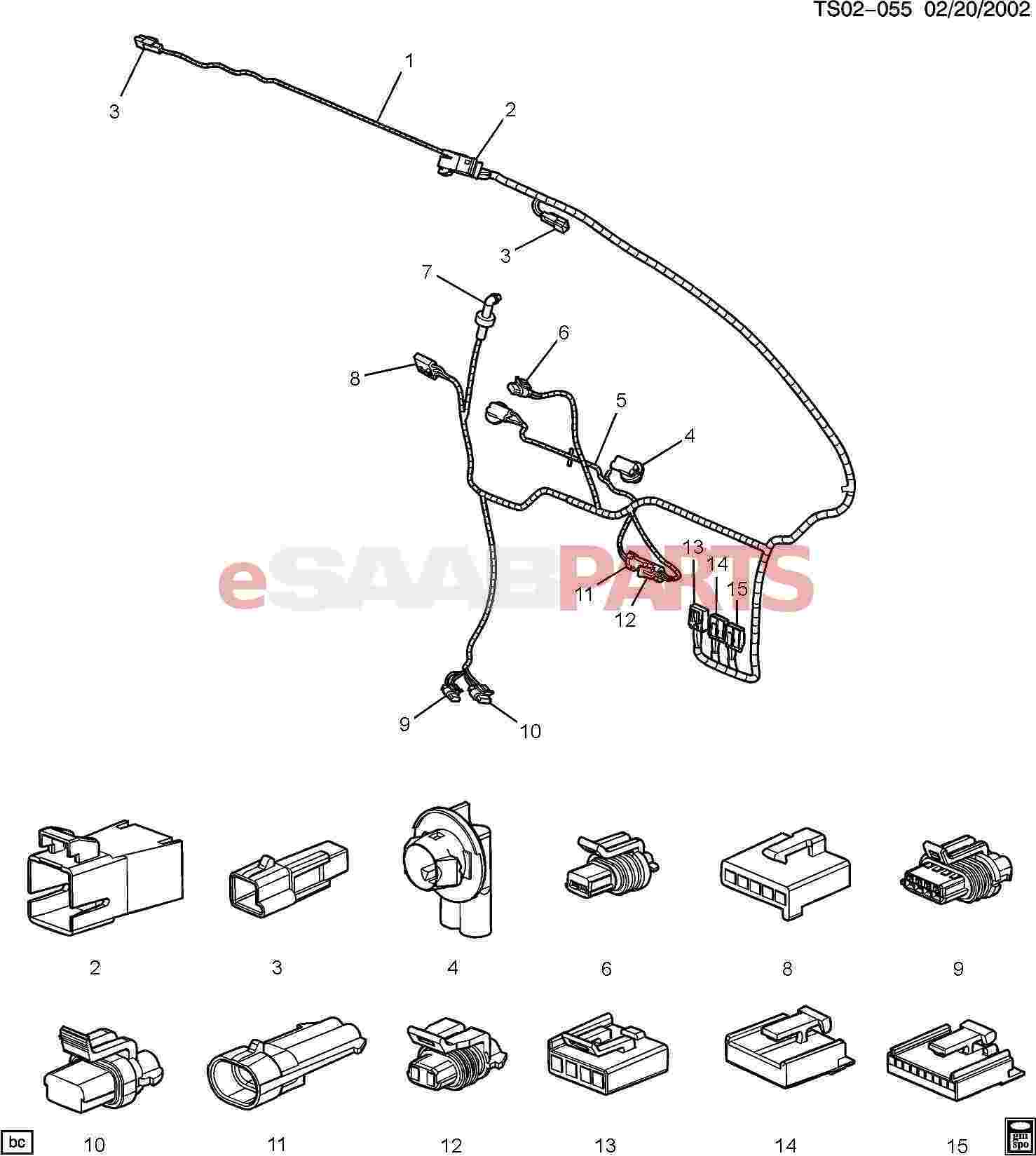 esaabparts com saab 9 7x u003e electrical parts u003e wiring harness rh esaabparts com