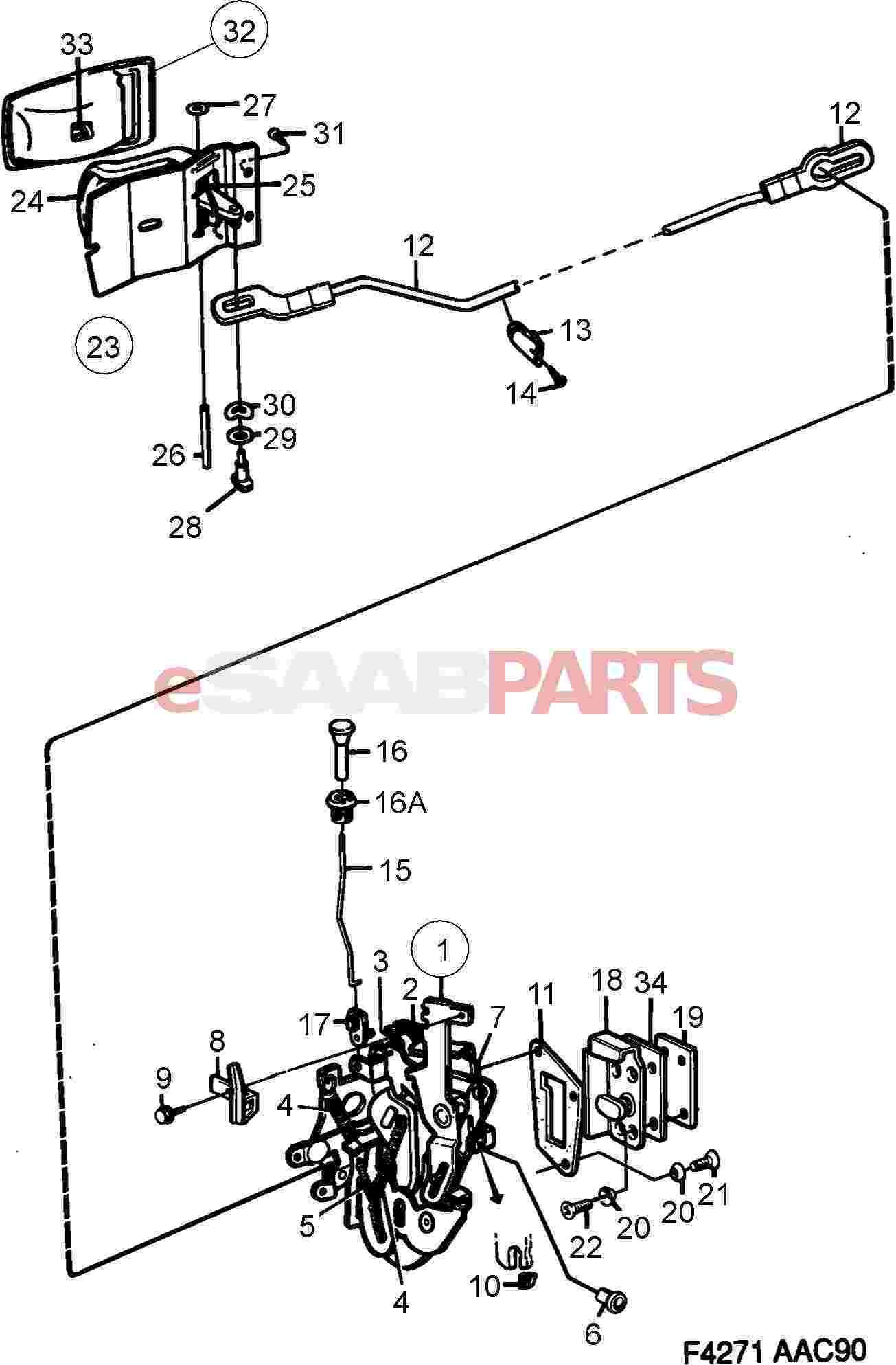 eSaabParts Saab Car Body External Parts Locks