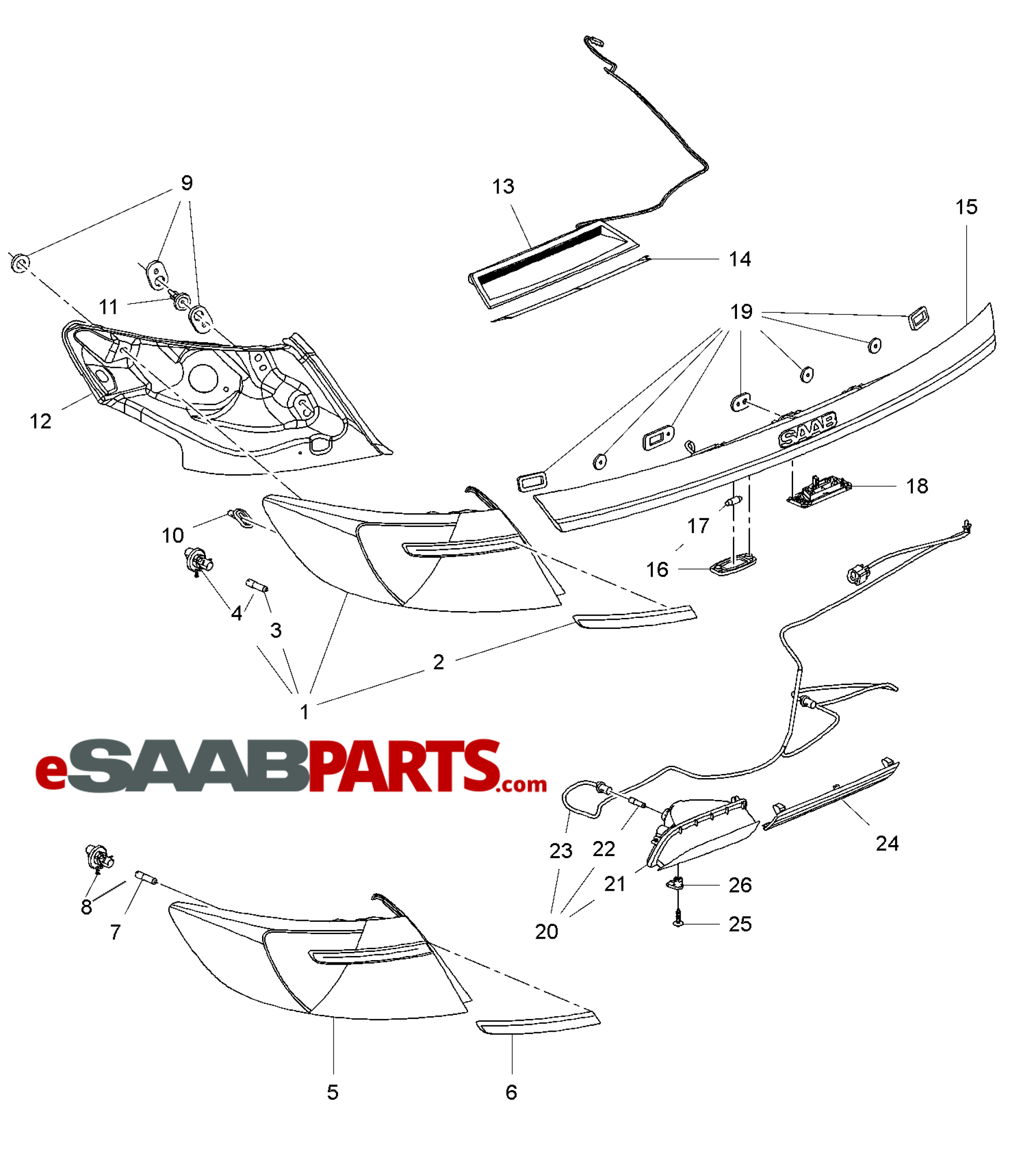 saab tail light wiring harness