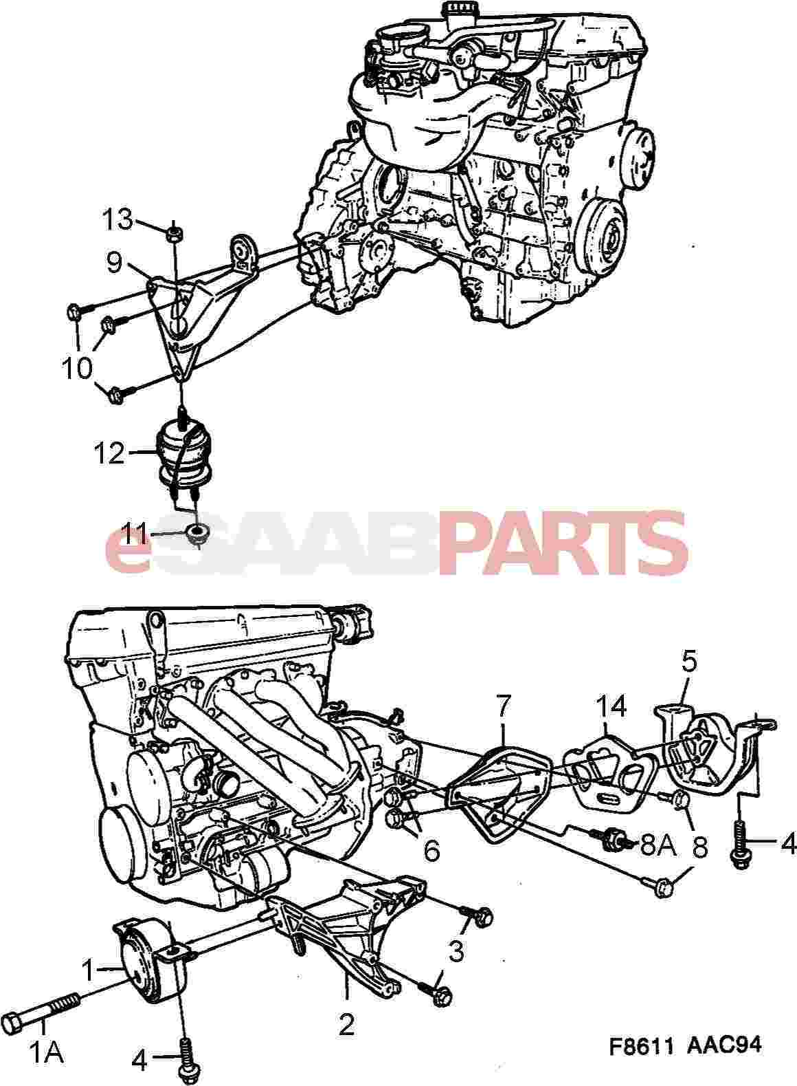 32017994 saab engine mount front rh 9 3og 4cyl 900ng 6 cyl rh esaabparts com Saab 900 Engine Diagram Automatic Transmission Parts Diagram 99 Saab 9 5