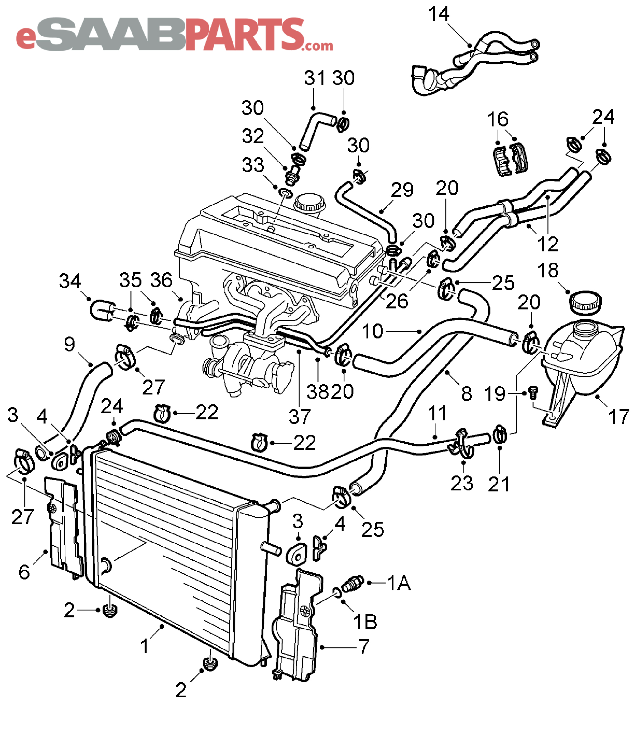 saab 9 5 cooling parts diagram