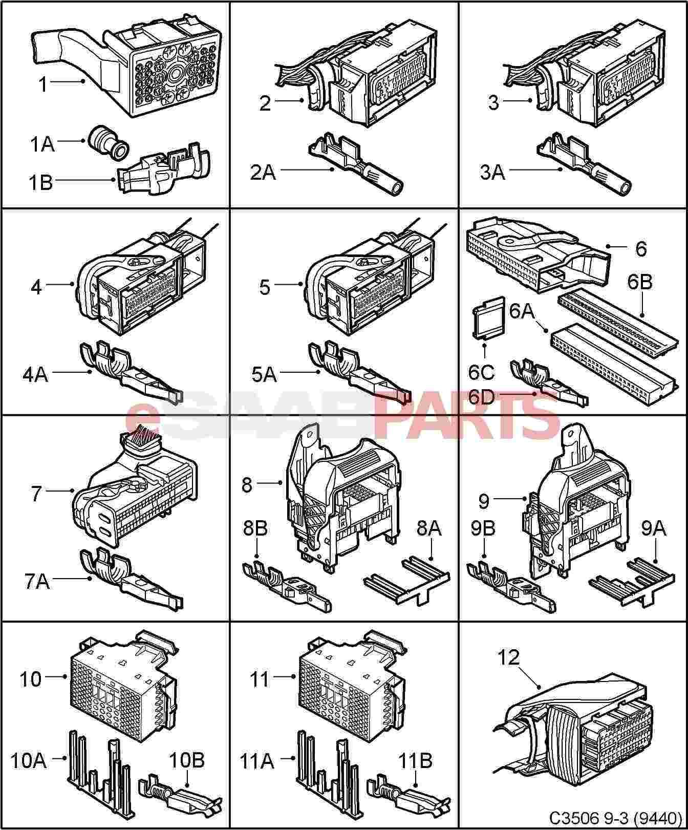 eSaabParts.com - Saab 9-3 (9440) > Electrical: Connector Parts ...