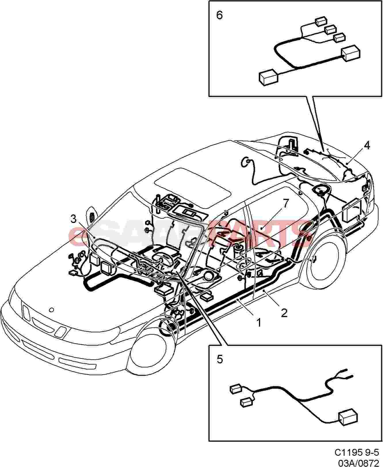 esaabparts com saab 9 5 (9600) \u003e electrical parts \u003e wiring saab 900 convertible wiring electrical wiring diagrams saab 9 5 #12
