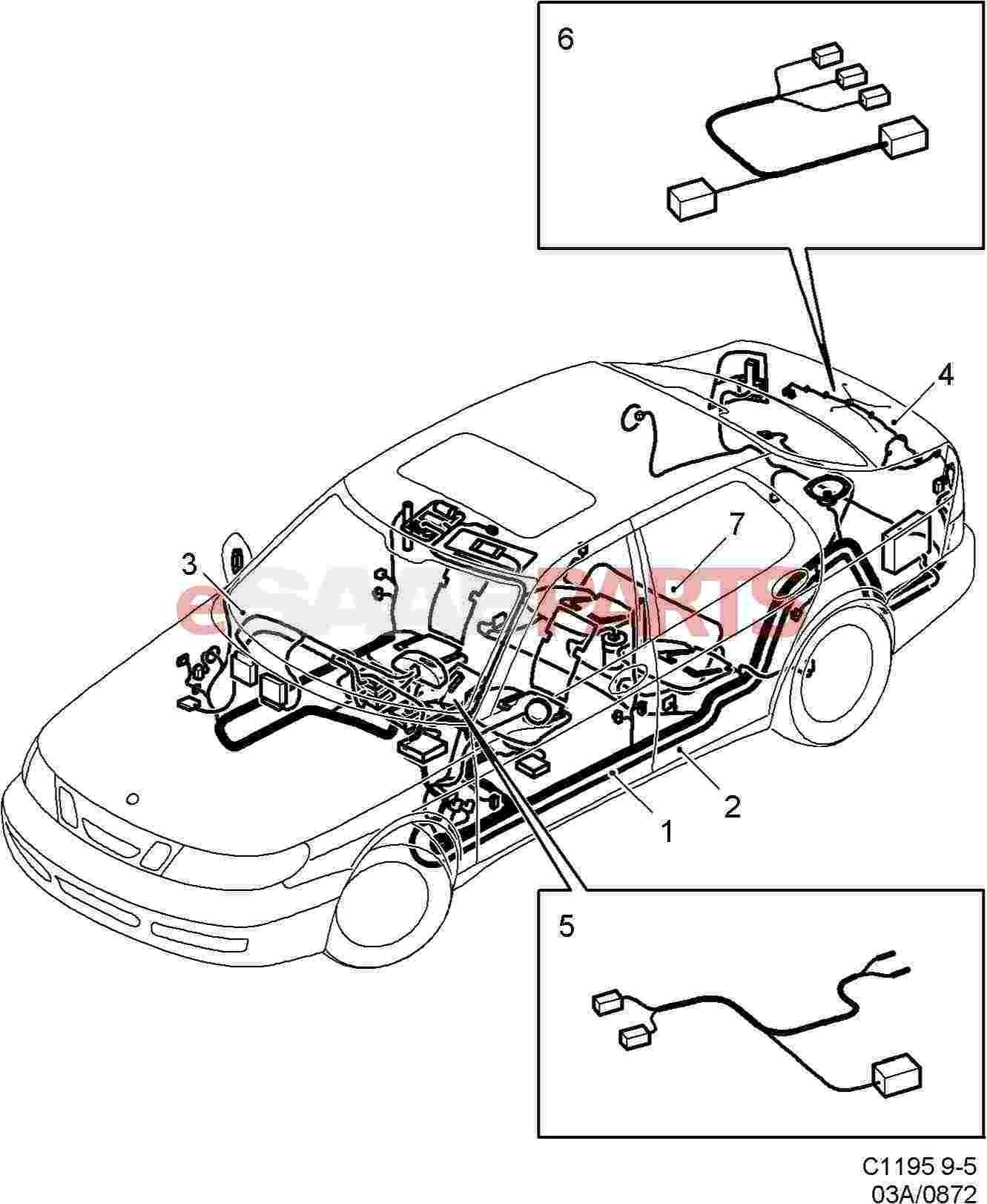eSaabParts.com - Saab 9-5 (9600) > Electrical Parts > Wiring Harness > Rear