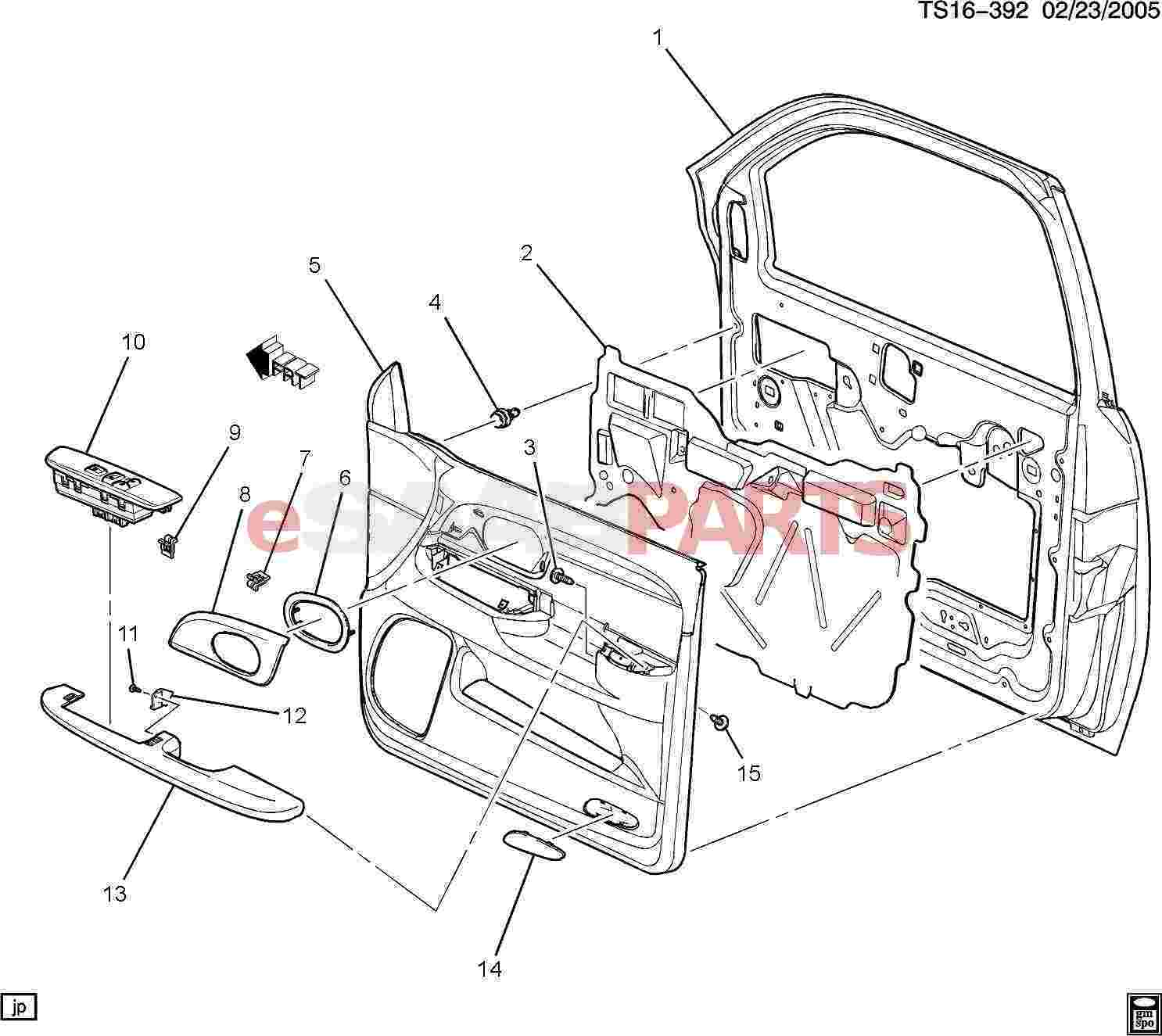 ESaabParts.com   Saab 9 7x U003e Car Body: Internal Parts U003e Door Parts Front U003e  Door Trim/Side Front Passenger