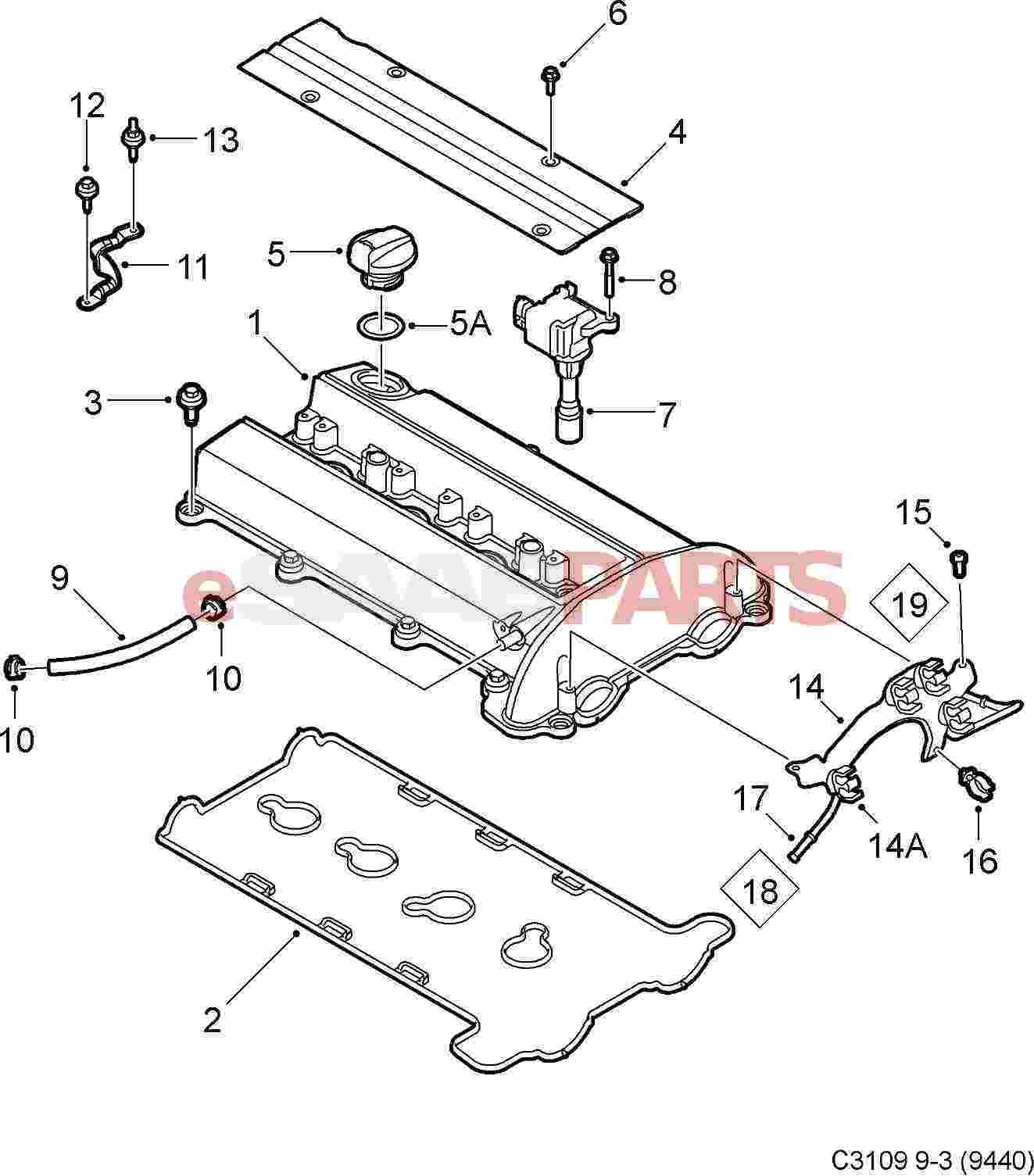 esaabparts com saab 9 3 9440 u003e engine parts u003e valve cover rh esaabparts com Saab 9-3 Parts Saab 9 5 Power Lock Diagram