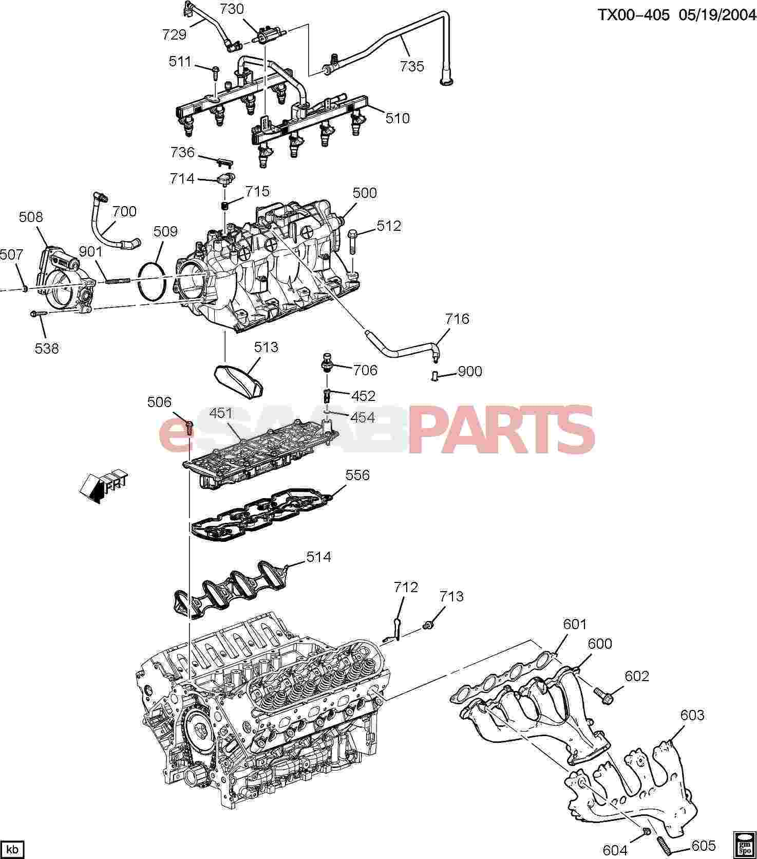 eSaabParts.com - Saab 9-7x > Engine Parts > Engine Internal 5.3M > Engine  ASM-5.3L V8 Part 5 Manifold & Fuel Related Parts (5.3M)