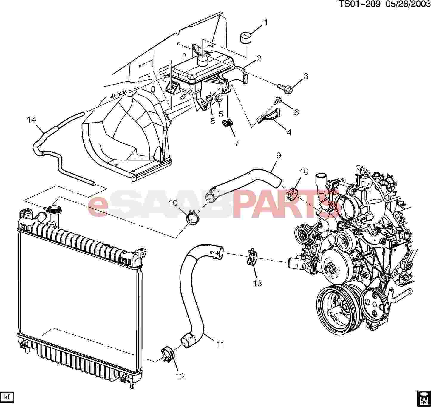 eSaabParts.com - Saab 9-7x > Engine Parts > Heater Hoses, Radiator & Fans >  Radiator Hoses (5.3M)eSaabParts.com