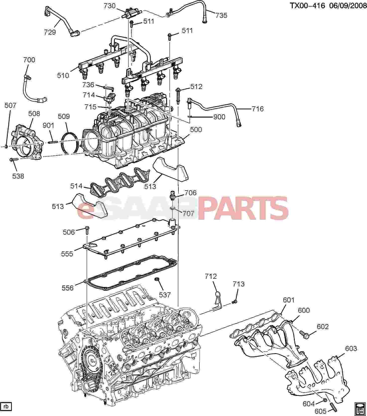 esaabparts com - saab 9-7x > engine parts > engine internal 6 0h > engine  asm-6 0l v8 part 5 manifold & fuel related parts (6 0h)