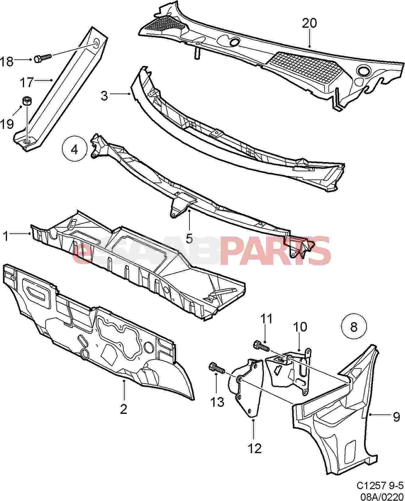 9959 Spreader Plate Set together with Saab Socket Plate 12778464 in addition ELECTRICAL SYSTEM 13709 besides Honda Odyssey Engine Splash Shield further RepairGuideContent. on saab 9 3 front plate