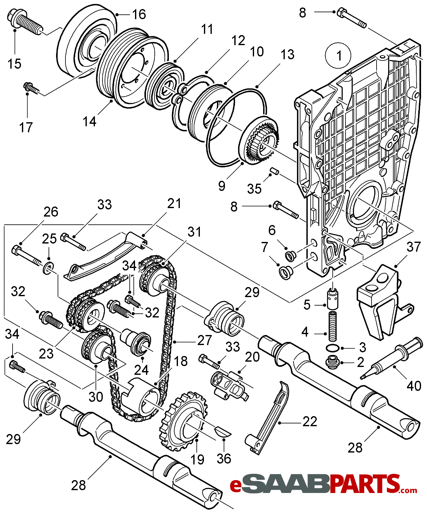 55557365  saab oil pump housing