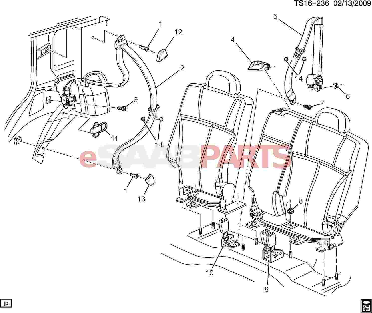 Magnificent 89023880 Saab Belt Kit Rear Seat Center Genuine Saab Parts From Wiring Database Wedabyuccorg