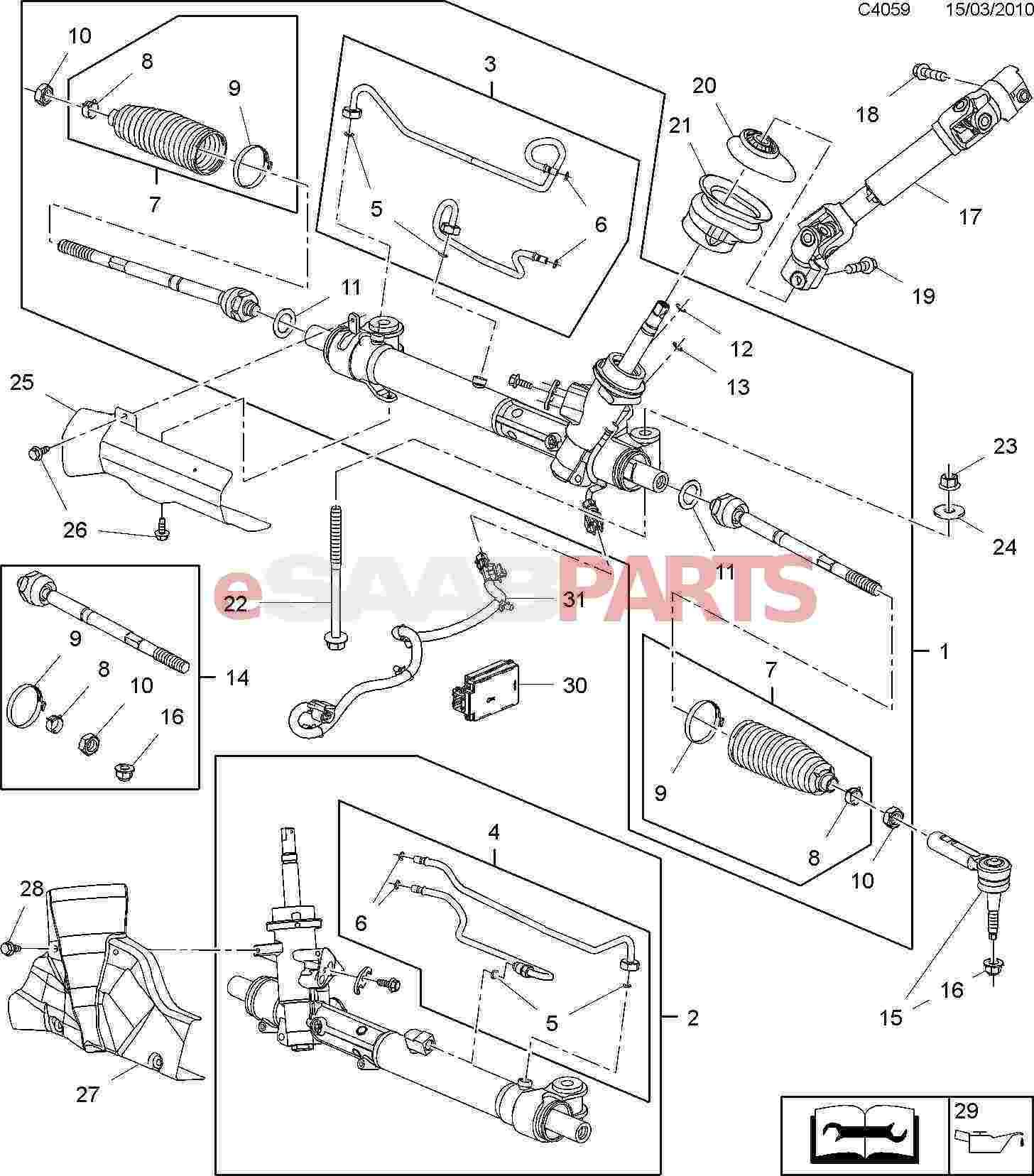 Part Power Steering Rack Diagram Modern Design Of Wiring Gear Box 20794887 Saab Control Unit Genuine Parts From Esaabparts Com Rh Ford Pump Gm