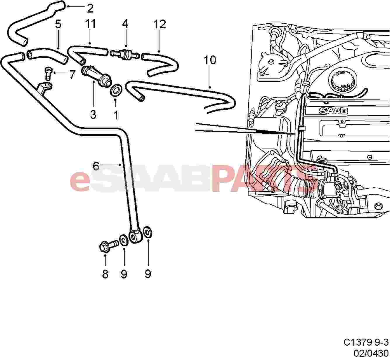 9189564  Saab Positive Crankcase Ventilation Valve