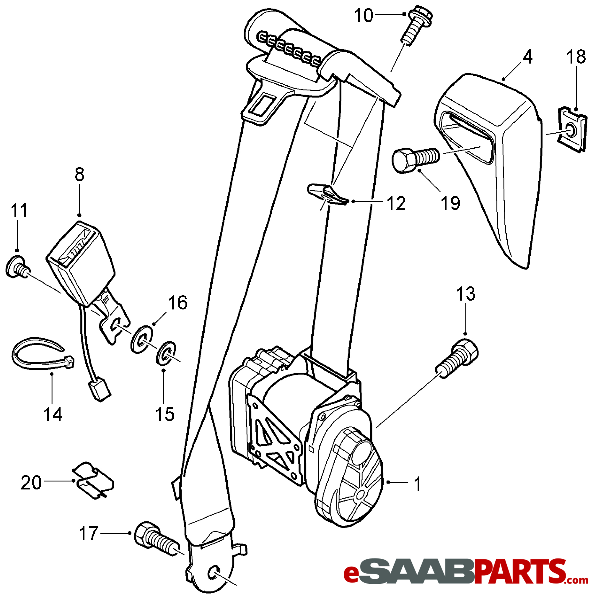 saab seat diagram  seat  auto parts catalog and diagram