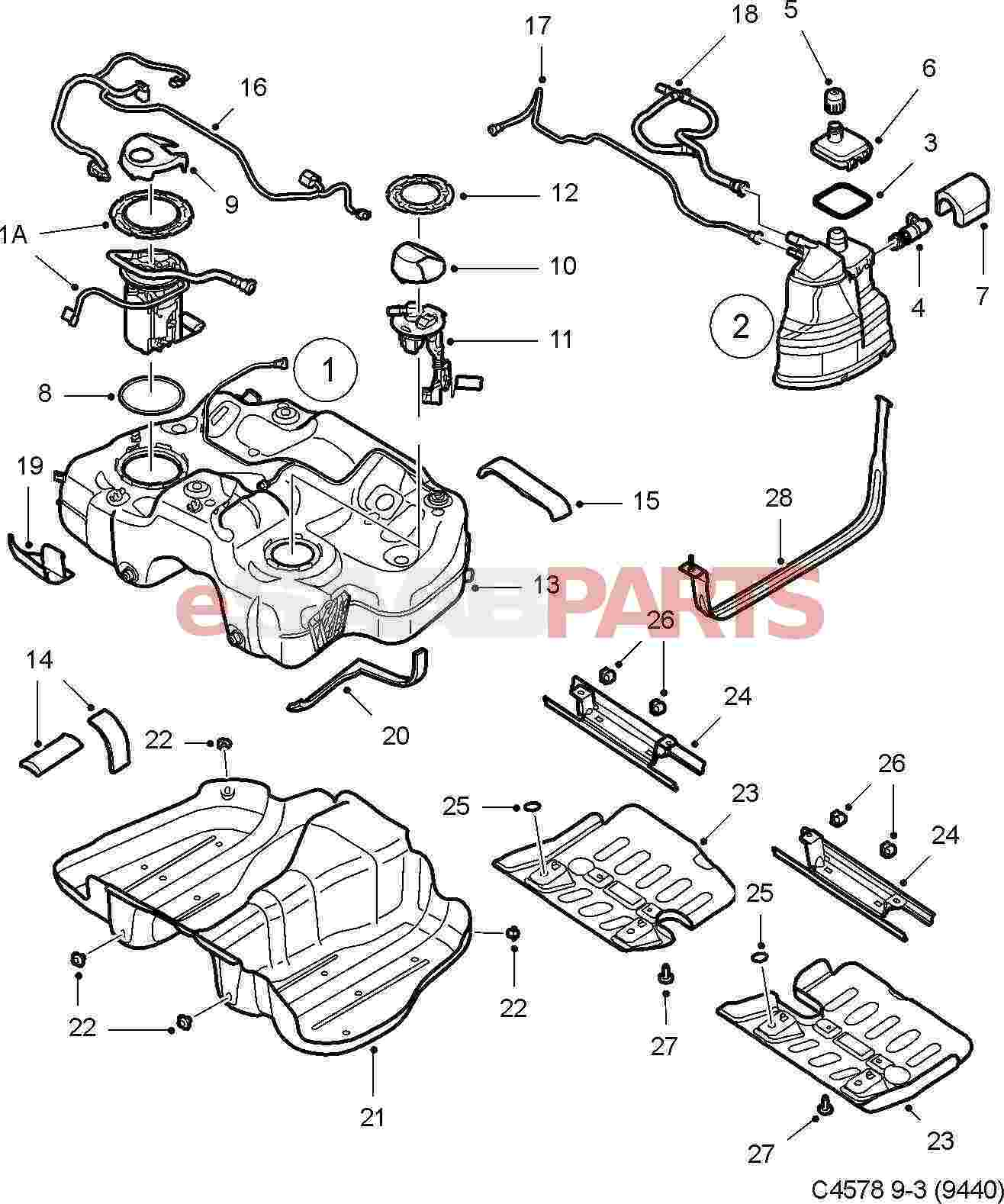 eSaabParts.com - Saab 9-3 (9440) > Engine Parts > Fuel System > Fuel Tank ( 2.0T XWD)