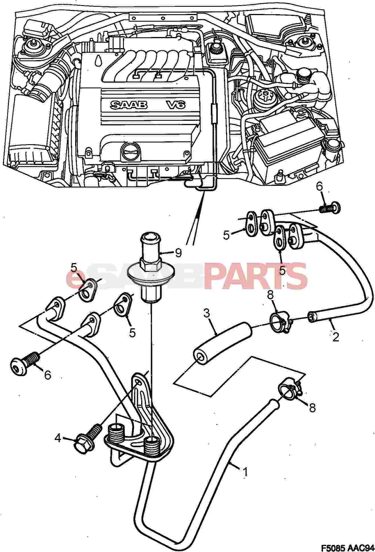 4360269 saab tube genuine saab parts from esaabpartscom With saab kes diagram
