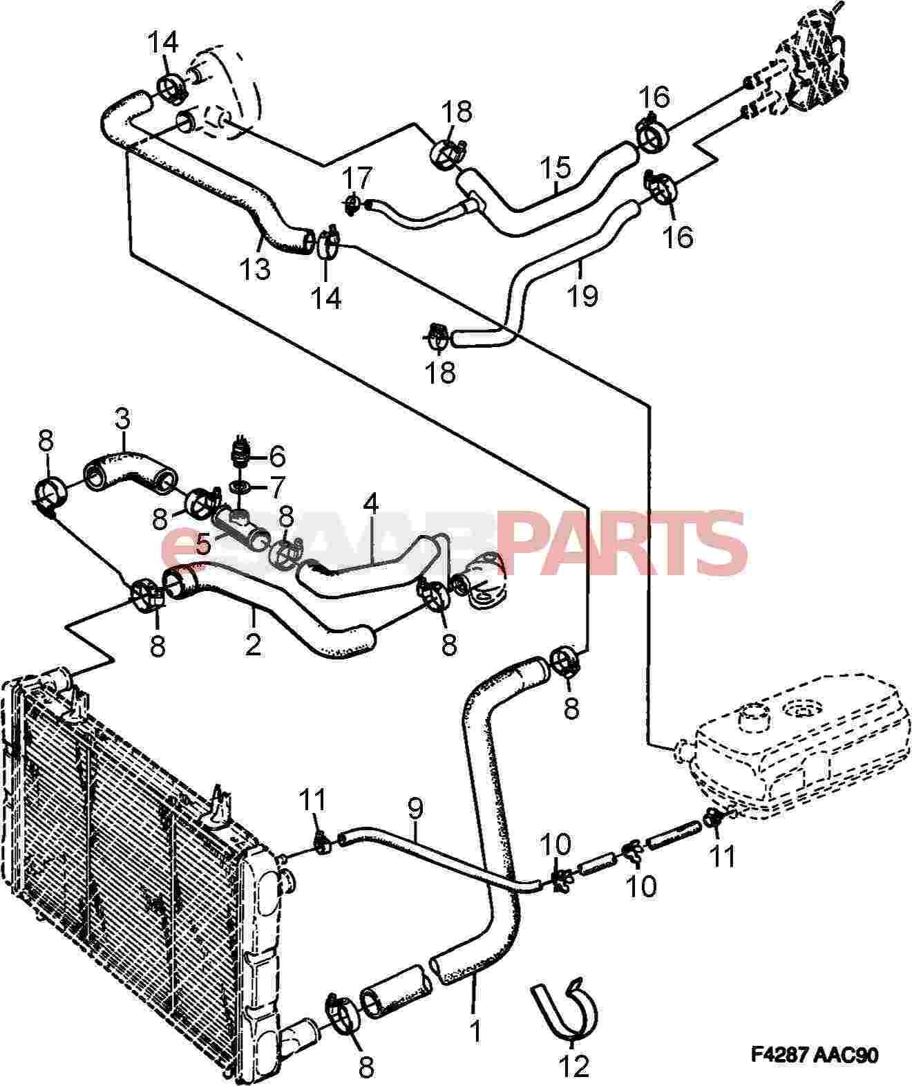 esaabparts saab 900 engine parts radiator hoses water BMW Engine Diagram esaabparts saab 900 engine parts radiator hoses water hoses etc
