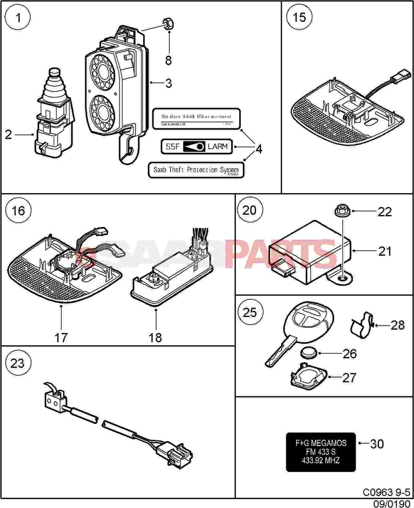 400128906 saab saab key kit cut 99 03 9 5 9 3og With saab key diagram