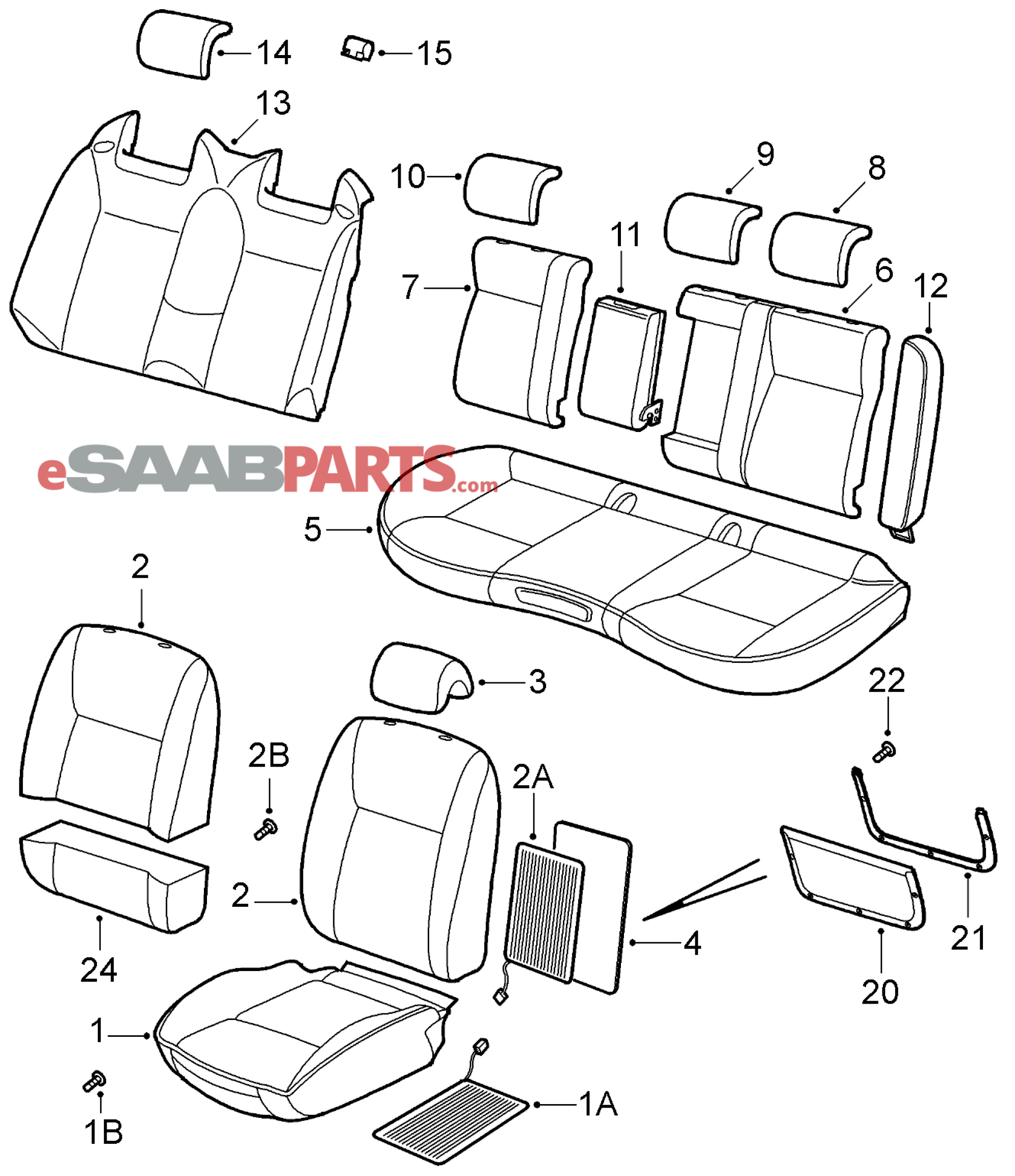 Saab 9 3 9440 Car Body Internal Parts Seat Viggen Wiring Diagram Covers 2008