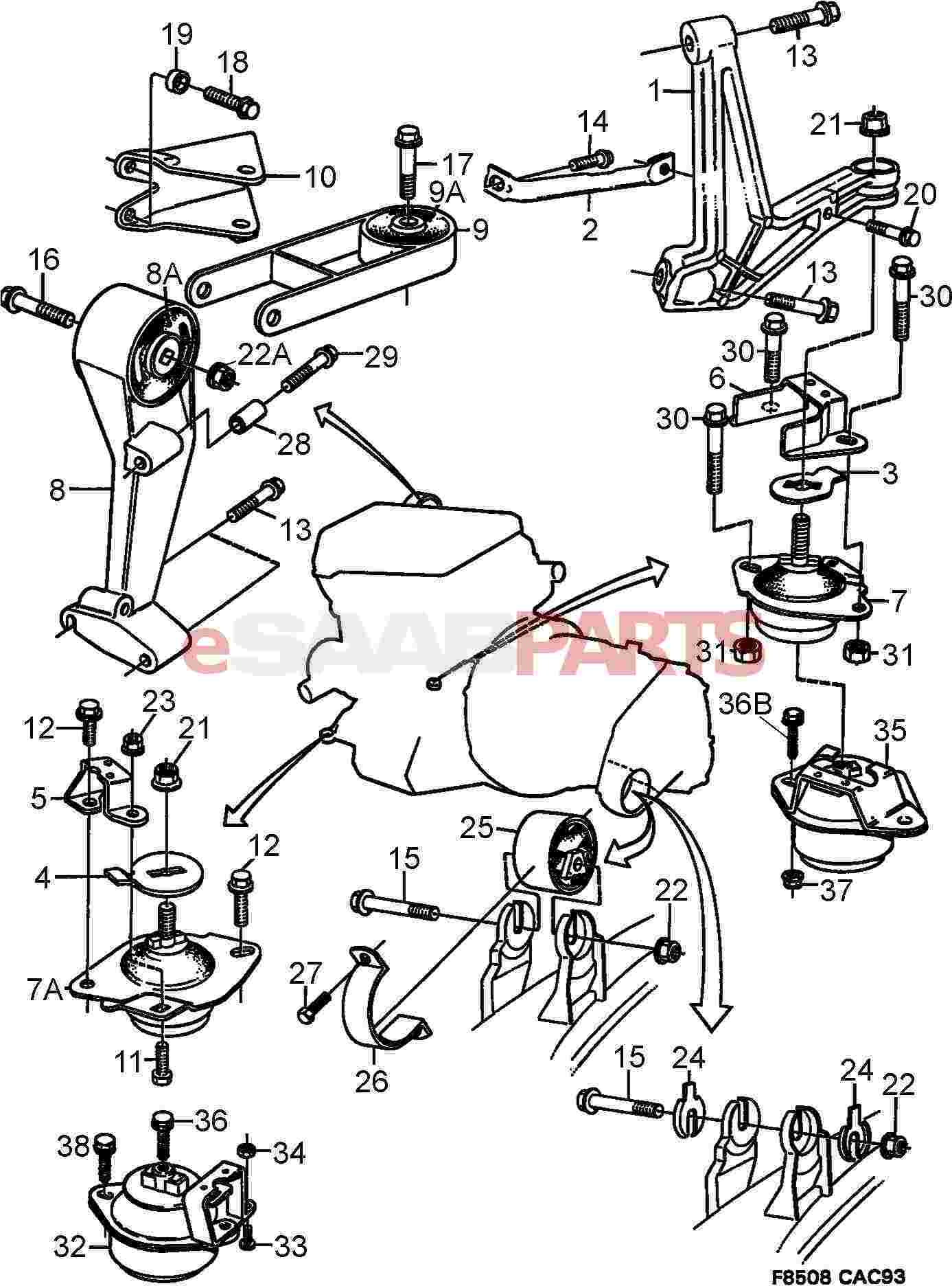 7576333 saab torque arm bushing genuine saab parts from rh esaabparts com Saab 9 3 Parts Diagram Motor Diagram 2003 Saab 9 3 2.0T