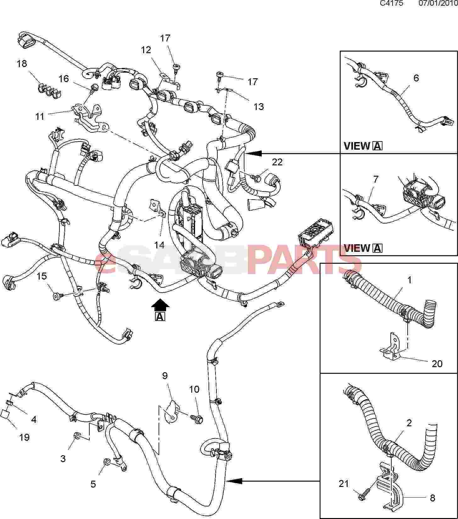 Saab Wiring Harness Opinions About Diagram 9 3 Stereo Esaabparts Com 5 650 U003e Electrical Parts Rh 900 Trunk