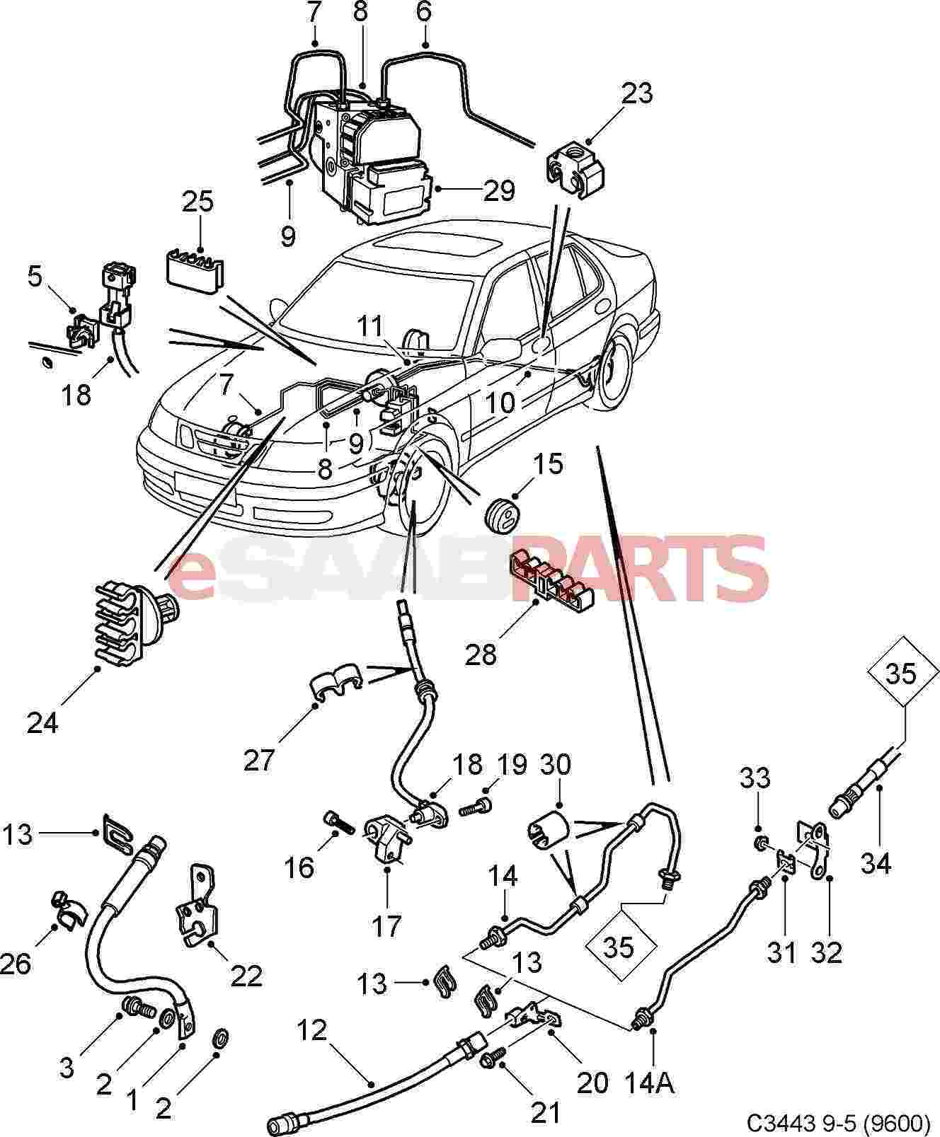 eSaabParts com - Saab 9-5 (9600) > Brakes Parts > Brake Lines