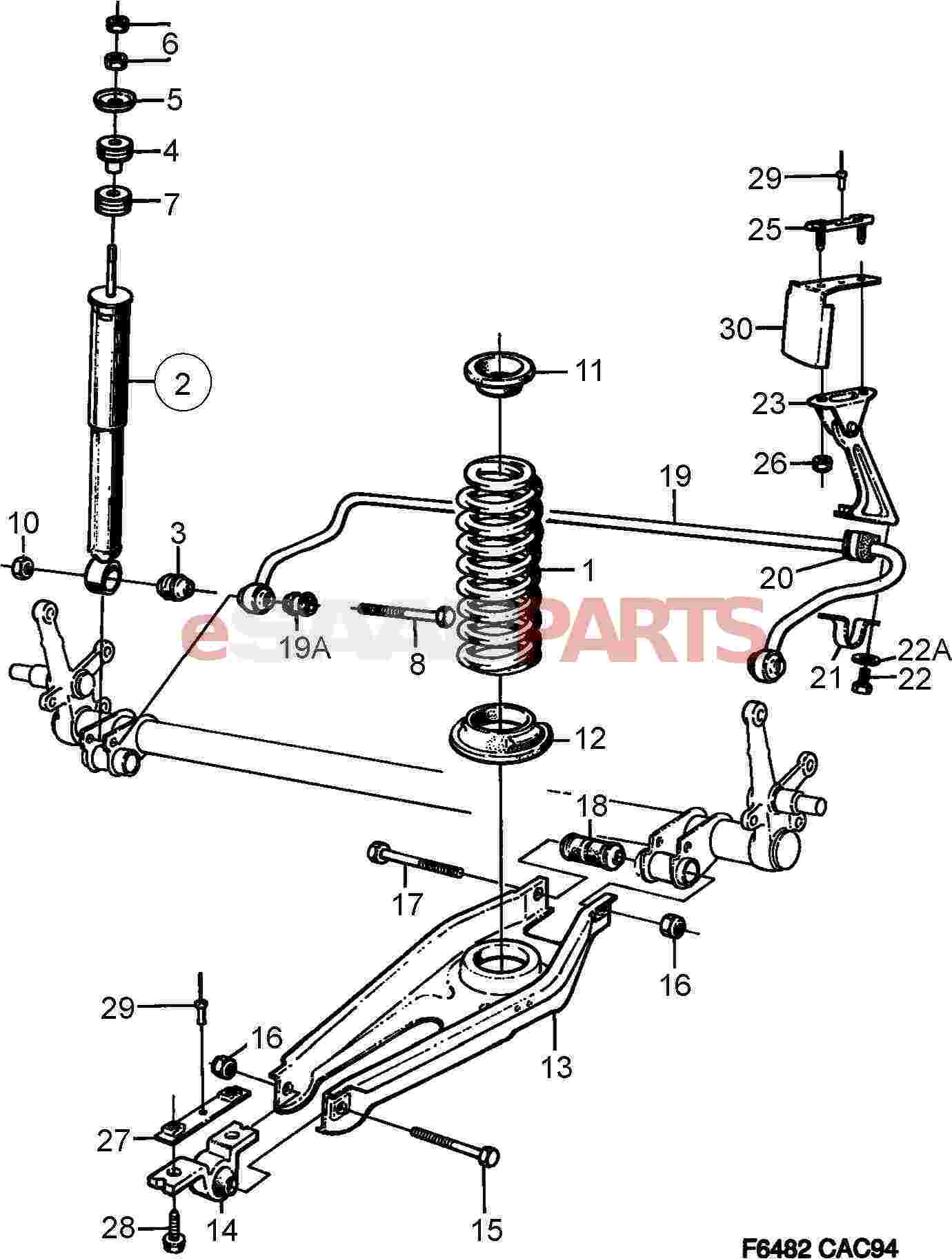 shock absorber diagram [4645008] saab shock absorber kit - genuine saab parts ...