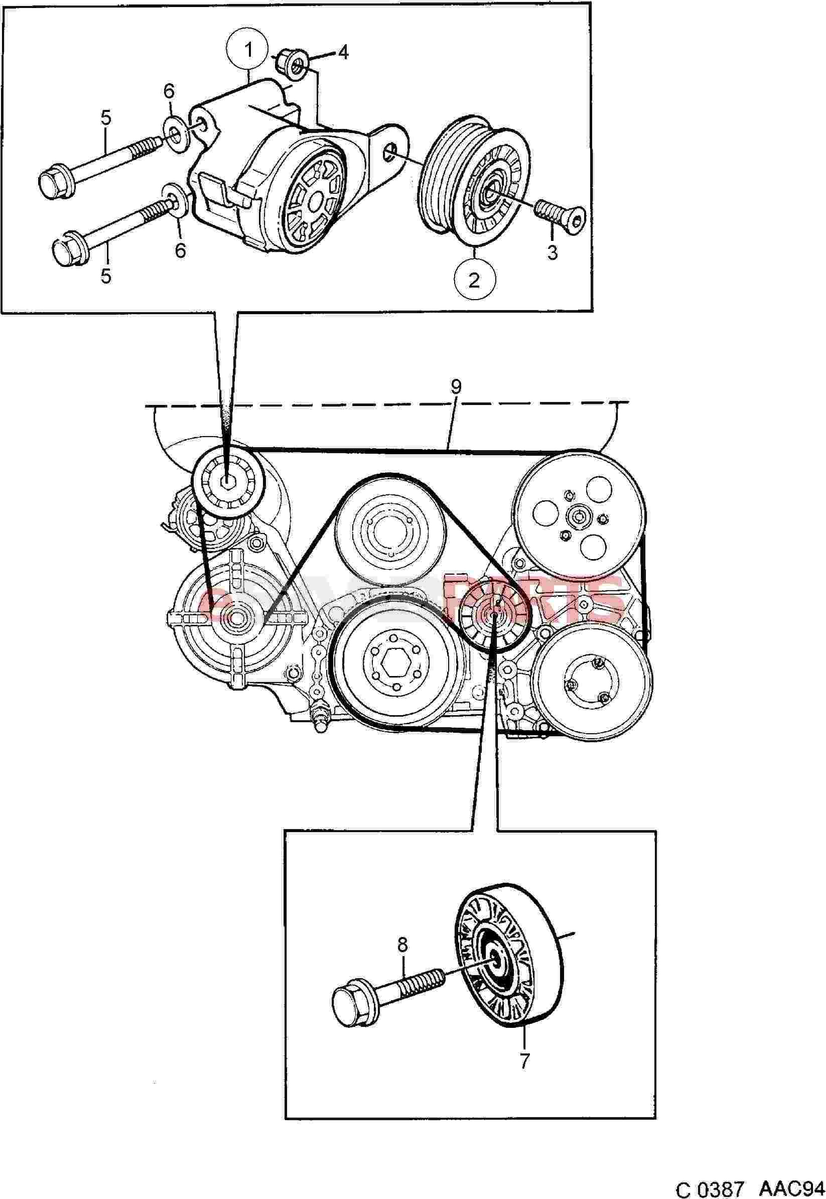 Saab 900 Engine Parts Belts Pulleys Belt Tensioner Diagram