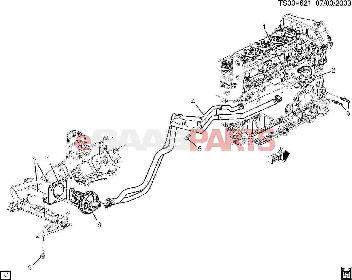10373307  saab hose  secd air injn pump