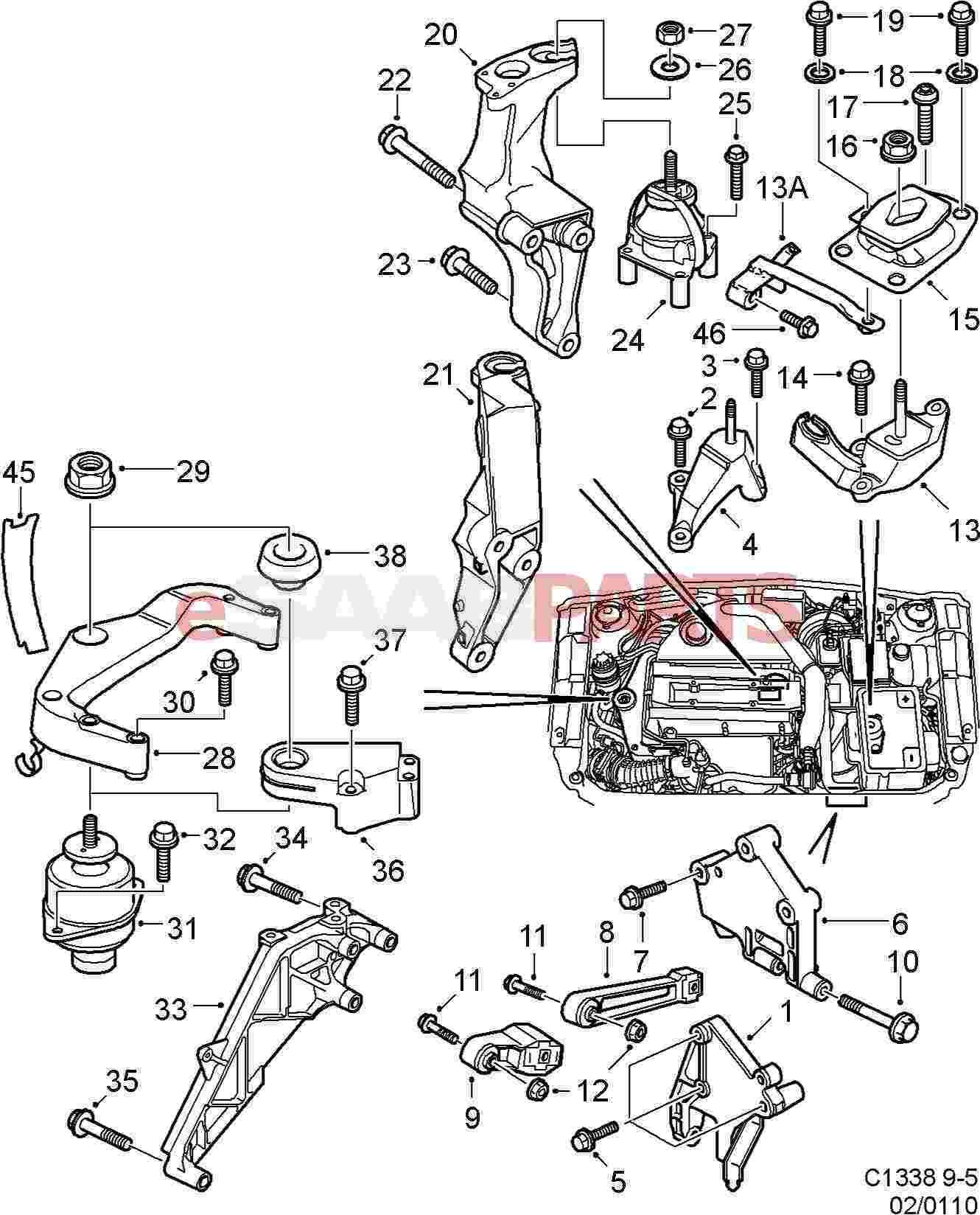 12770367 saab engine mount lower passenger rh side 99 09 9 5 rh esaabparts com 2003 Saab 9 3 Timing Diagram Saab 900 Engine Diagram