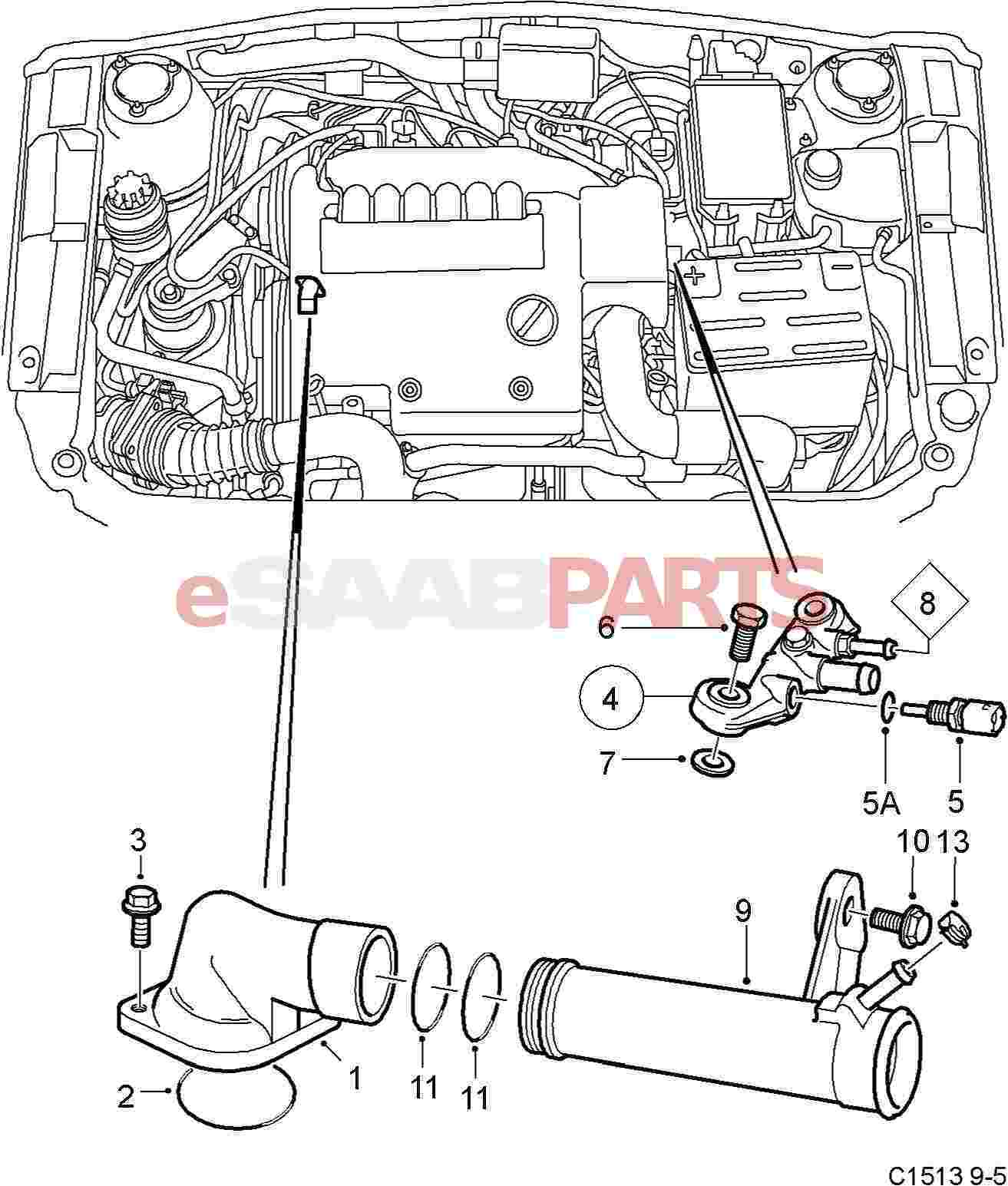 eSaabParts.com - Saab 9-5 (9600) > Engine Parts > Thermostat > Thermostat  (B308)eSaabParts.com