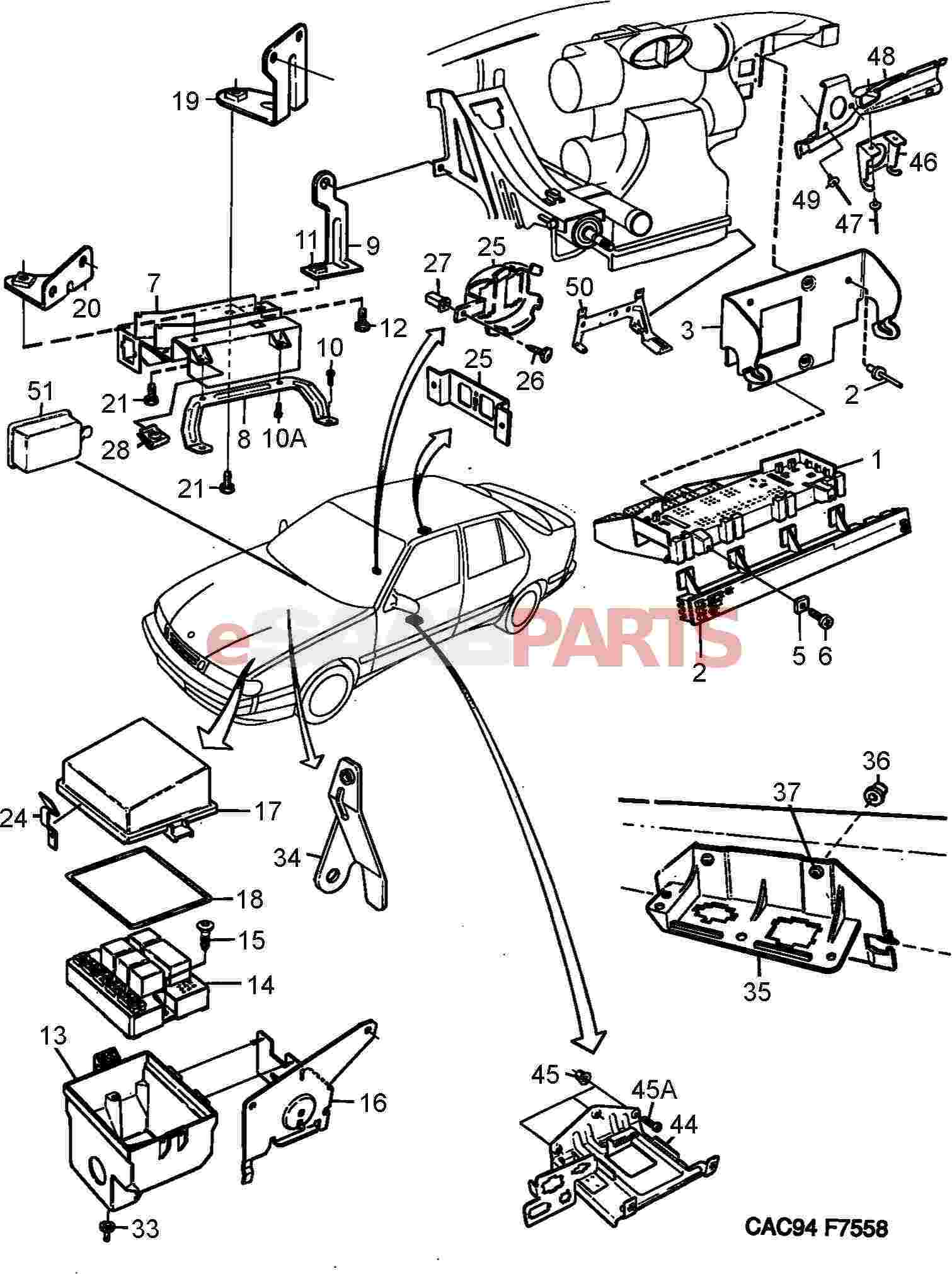 service manual  electrical relays schematic 1994 saab 9000