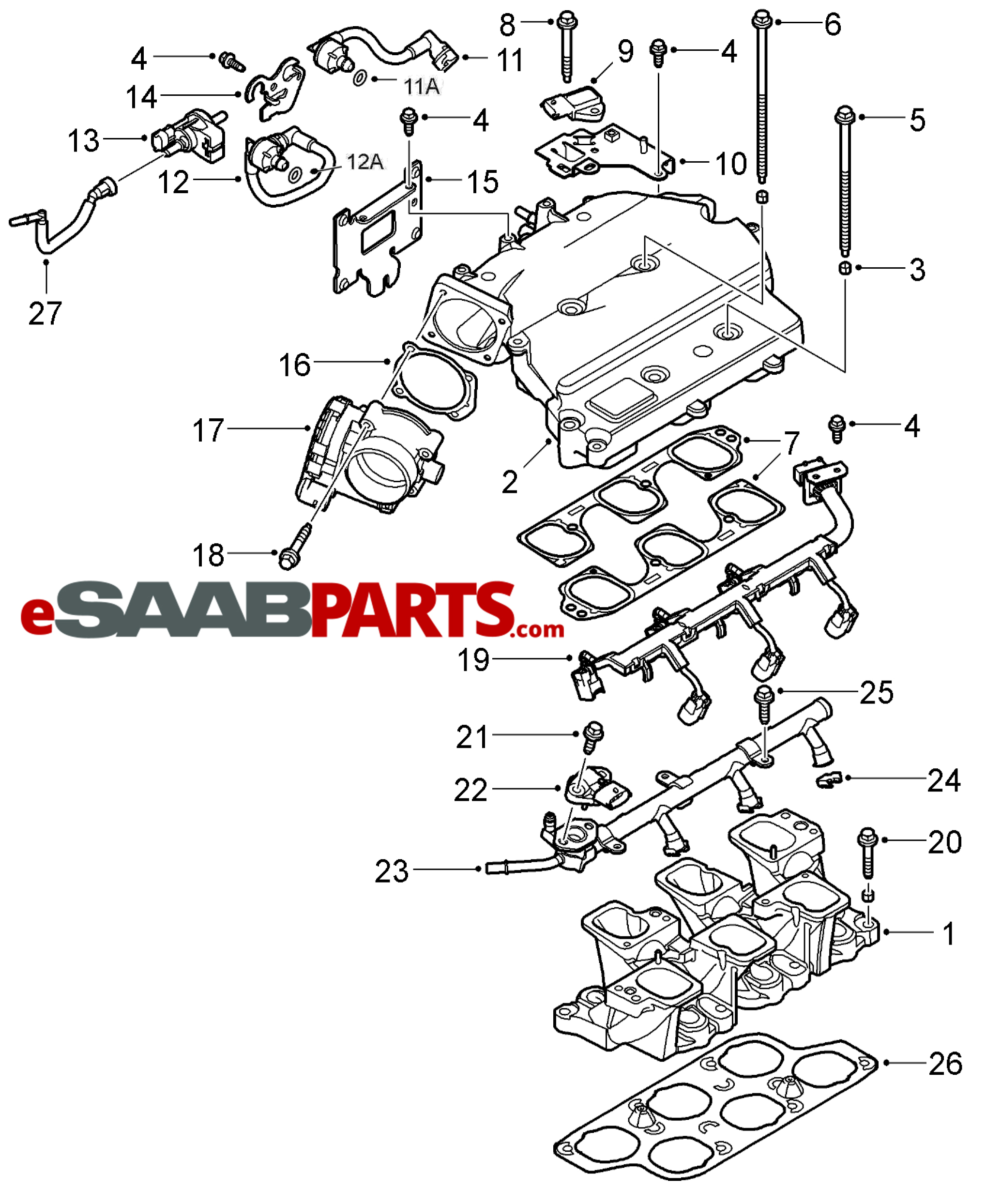 home · v6 intake diagram · esaabparts com saab 9 3 (9440) \u003e engine  parts \u003e intake manifold