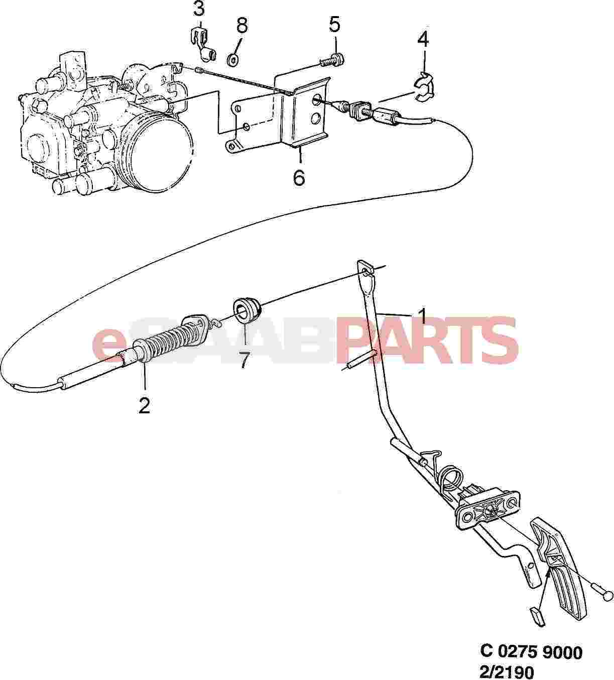 4161915 saab throttle control cable genuine saab parts from diagram image 2 pooptronica Images