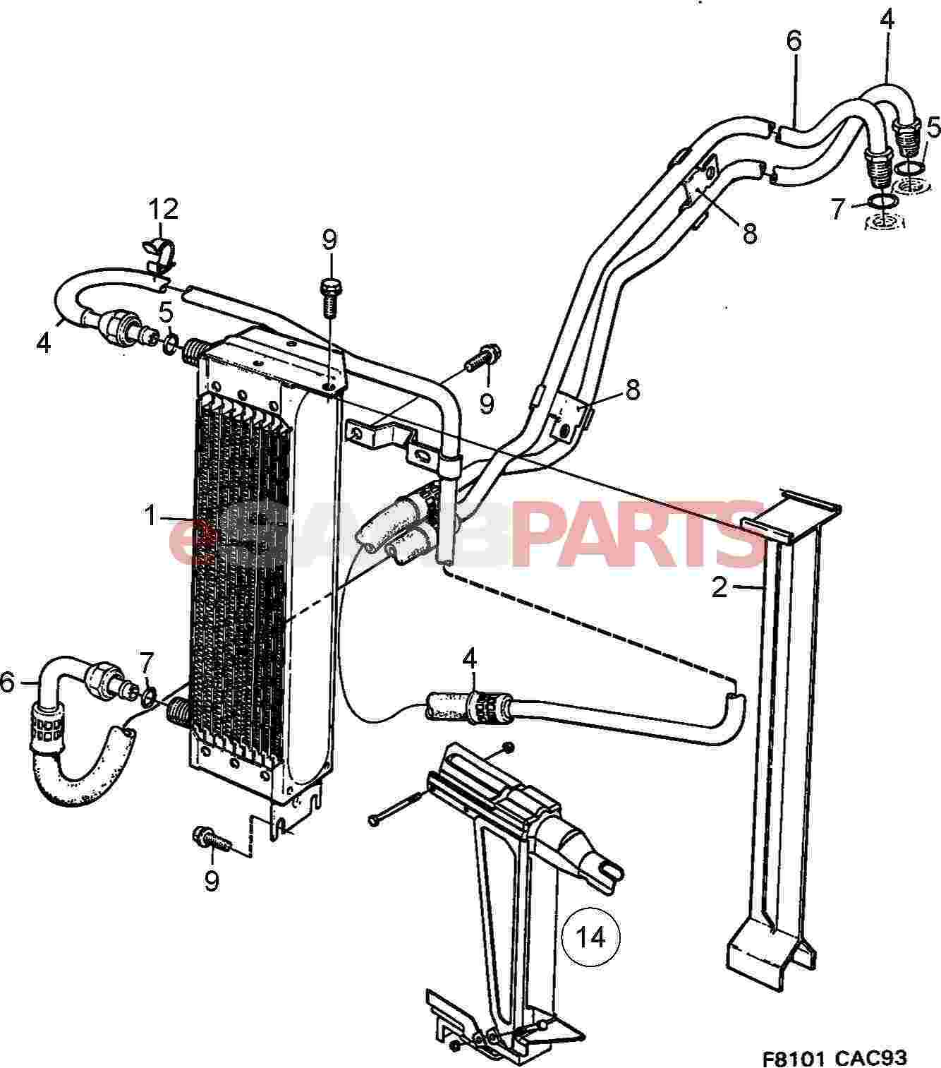 4725867 saab oil cooler genuine saab parts from esaabparts com rh esaabparts com Ford Cortina Engine Diagram Ford Cortina Engine Diagram