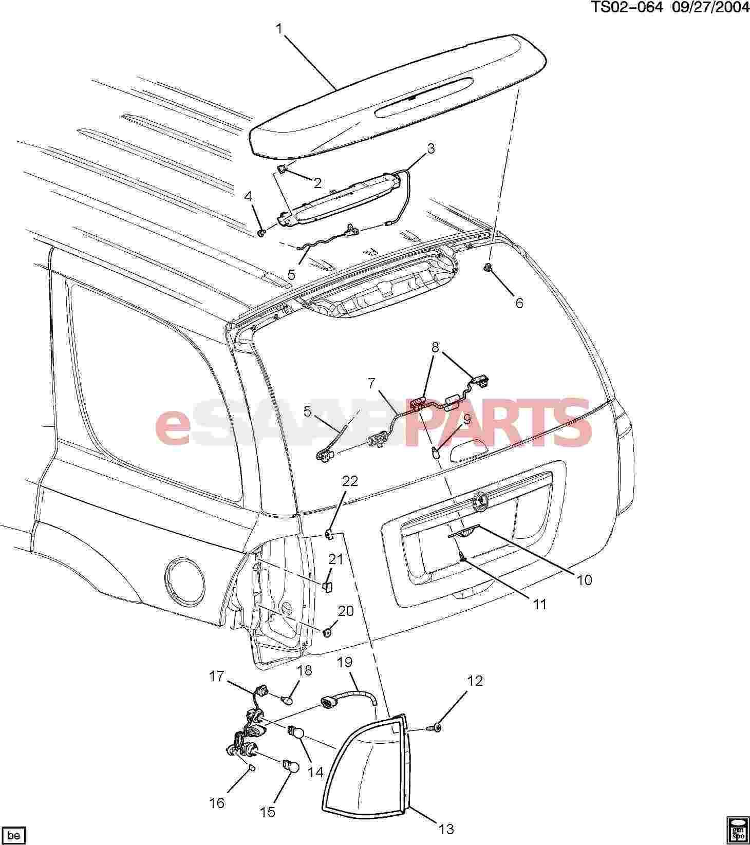 esaabparts saab 9 7x electrical parts lights related Simple Turn Signal Diagram esaabparts saab 9 7x electrical parts lights related l s rear