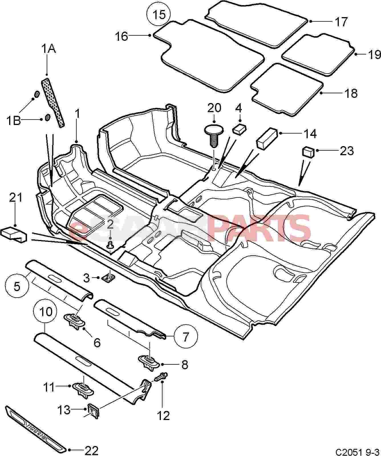 Esaabparts Com Saab 9 3 9400 Car Body Internal Parts Carpet Sill Protection Carpet Sill Protection